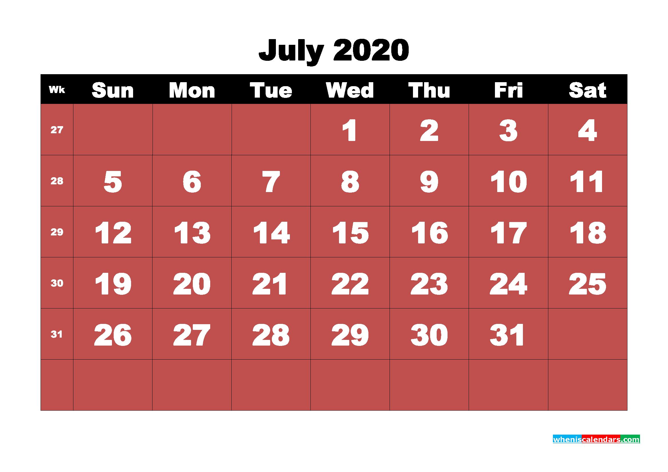 July Printable Calendar 2020 PDF, Word - No.m20b19