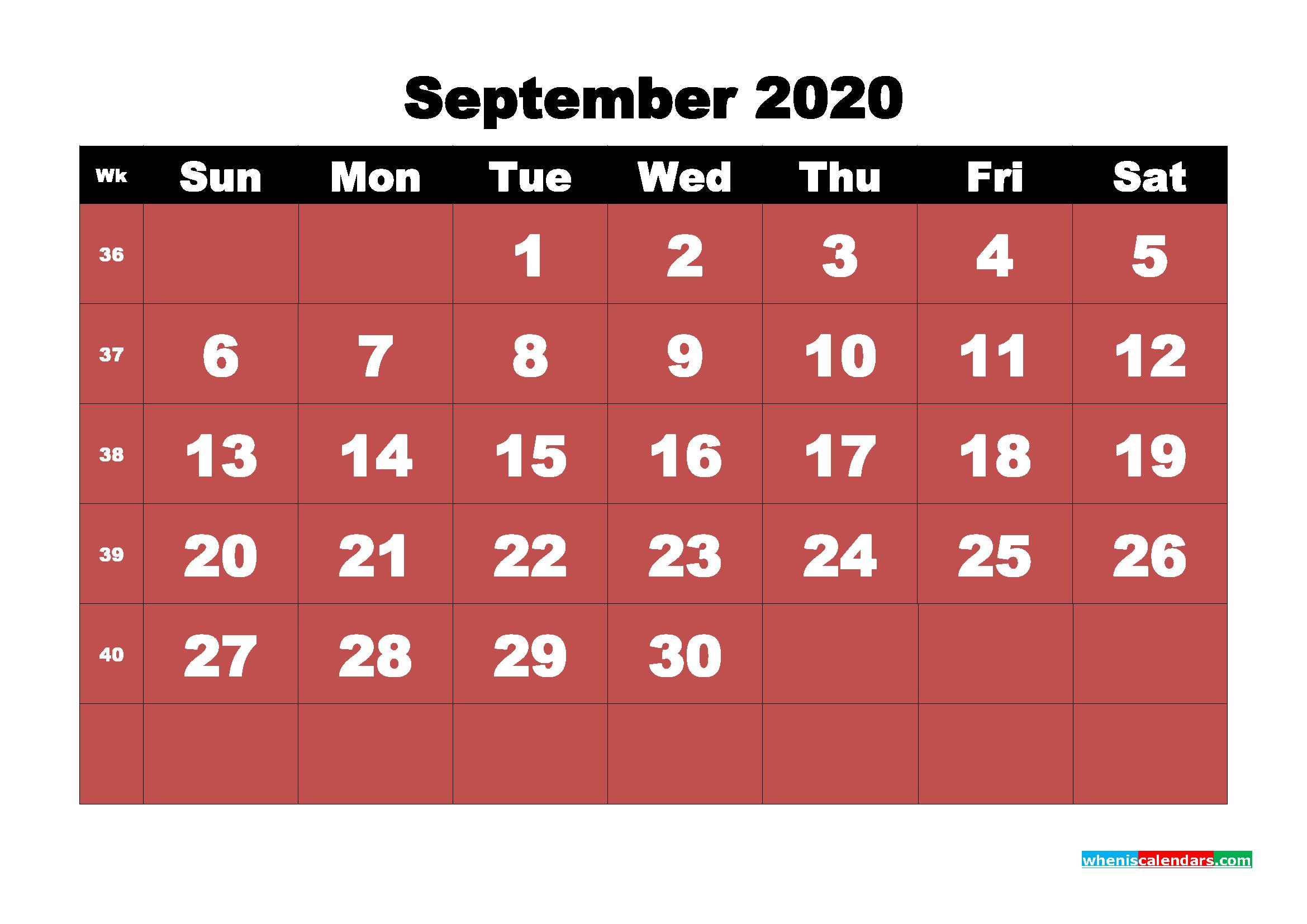 September Printable Calendar 2020 PDF, Word - No.m20b21
