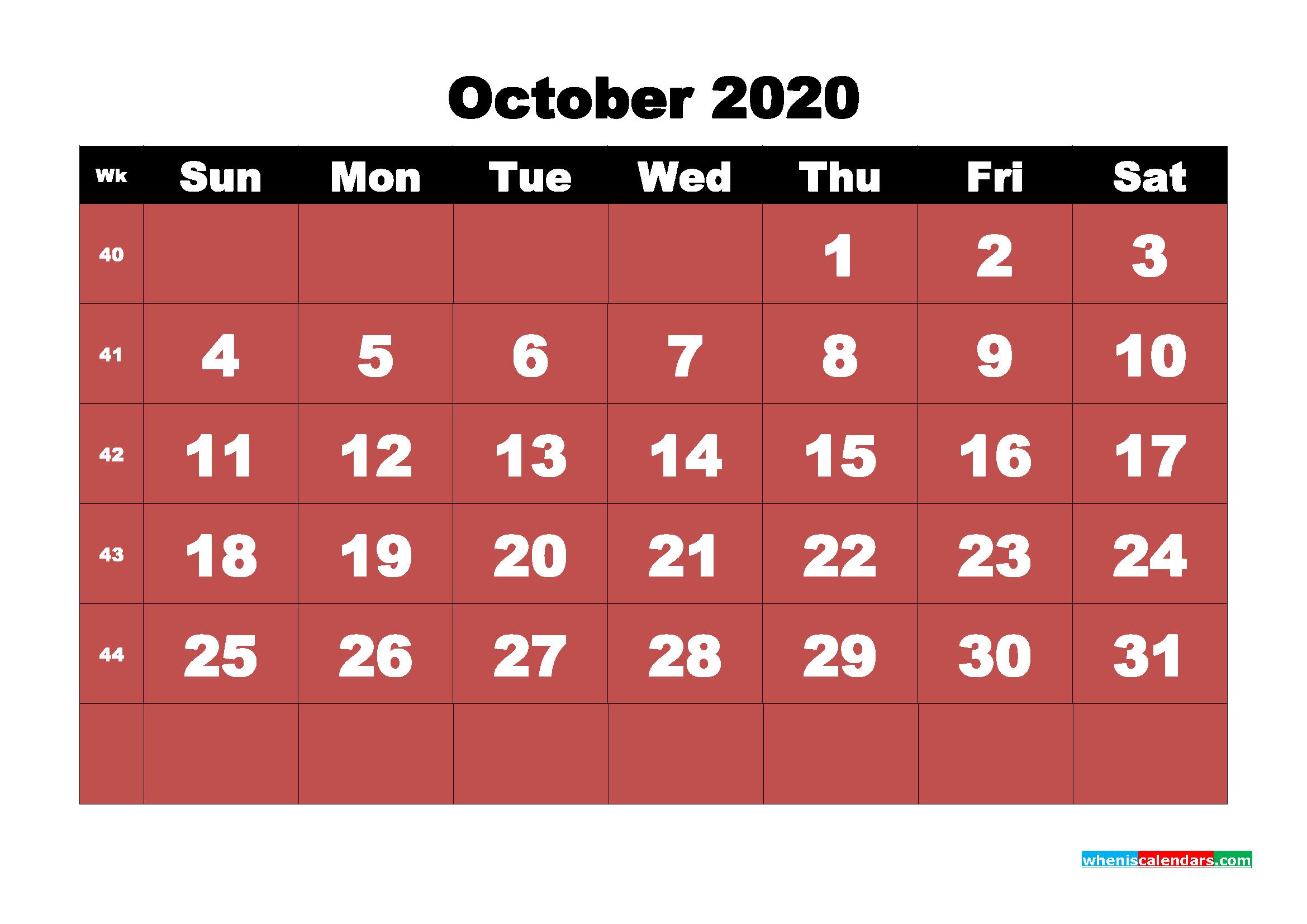 October Printable Calendar 2020 PDF, Word - No.m20b22