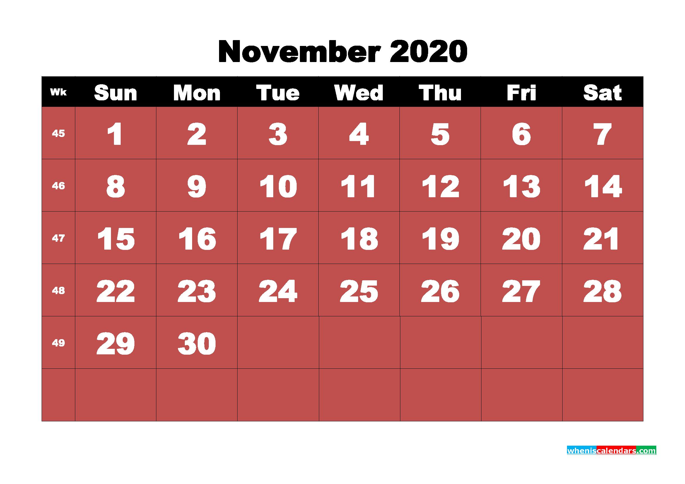 November Printable Calendar 2020 PDF, Word - No.m20b23