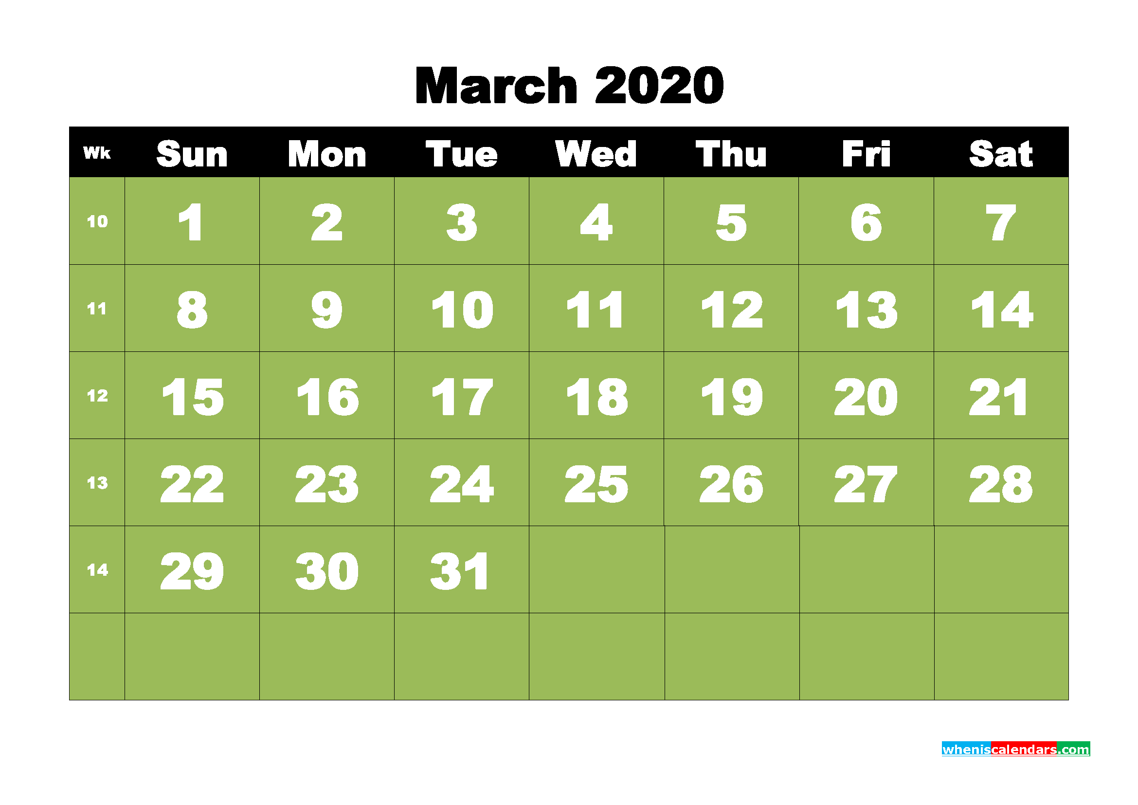 March 2020 Blank Calendar Printable Landscape Layout