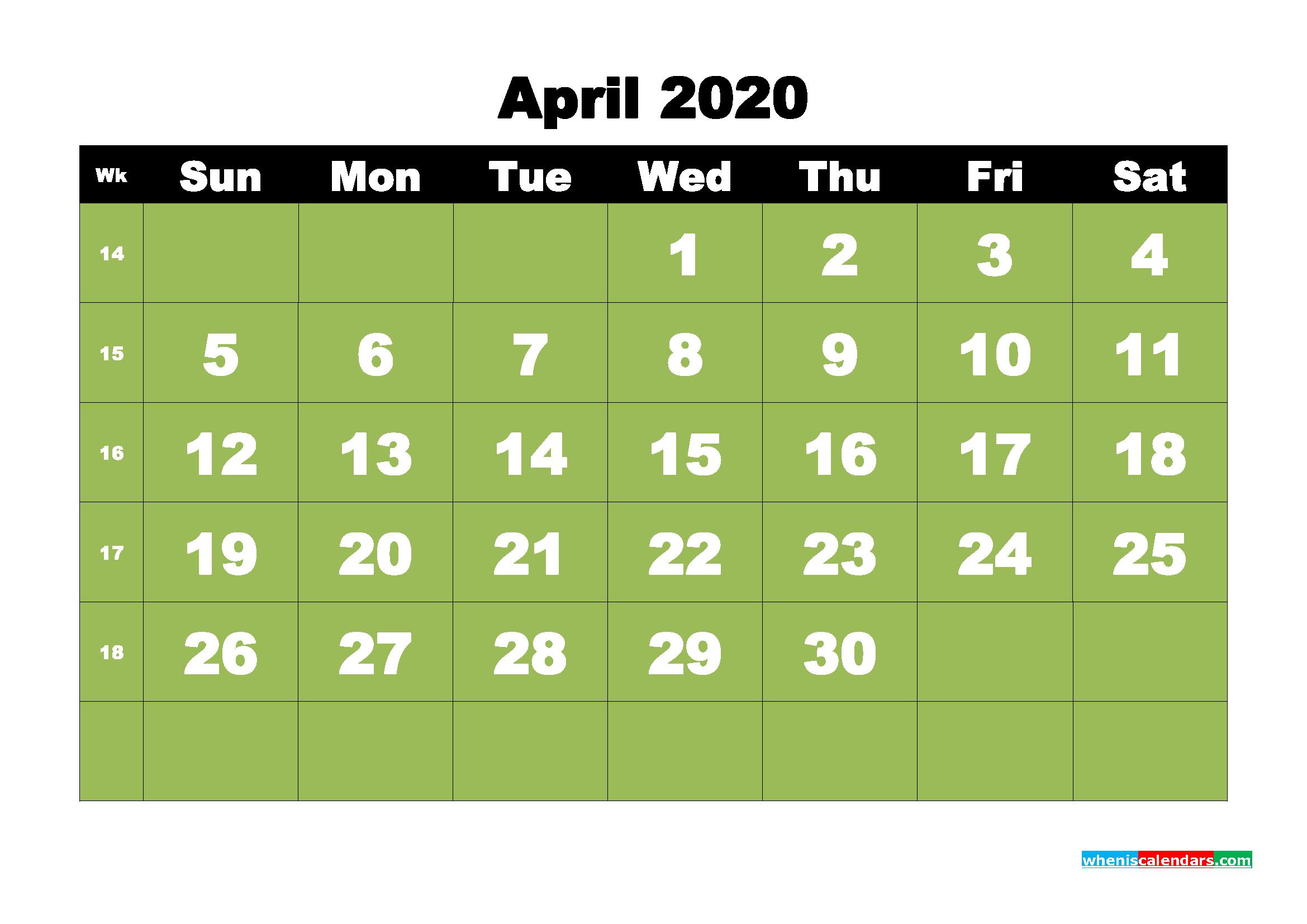 Free Printable April 2020 Calendar - No.m20b28