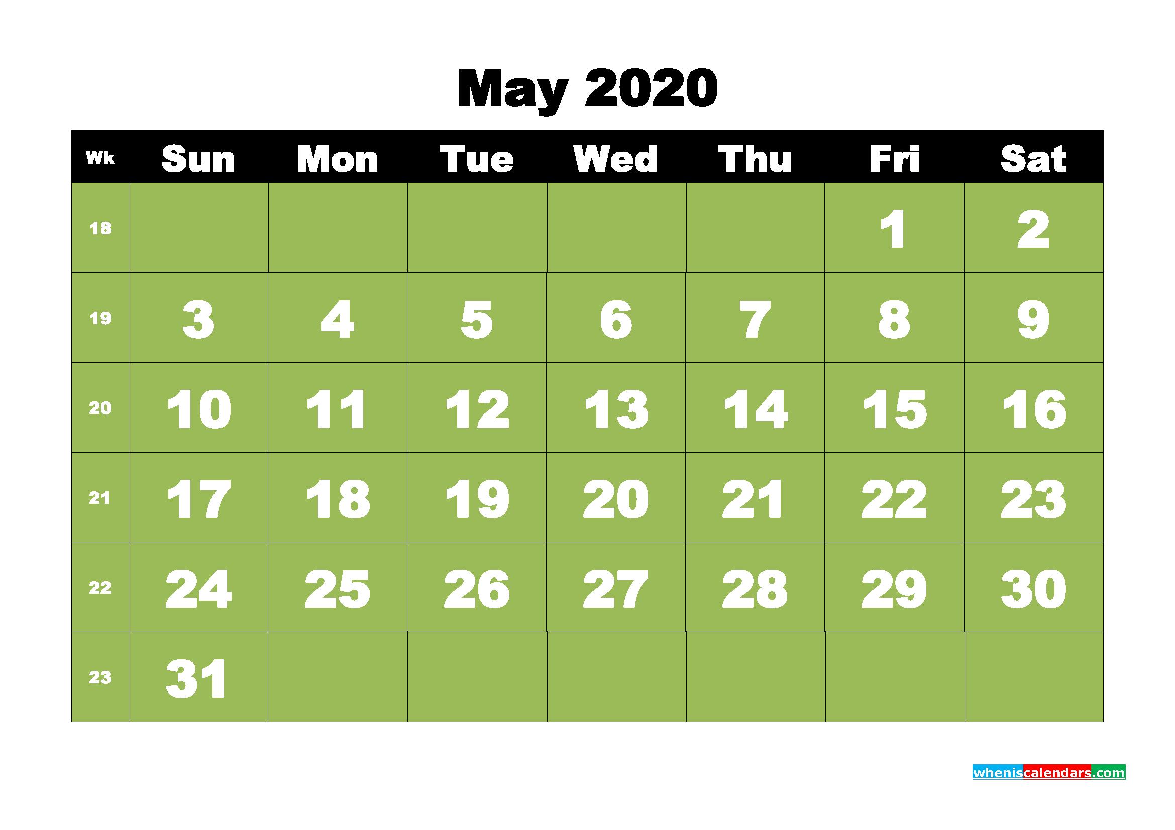 Free Printable May 2020 Calendar - No.m20b29