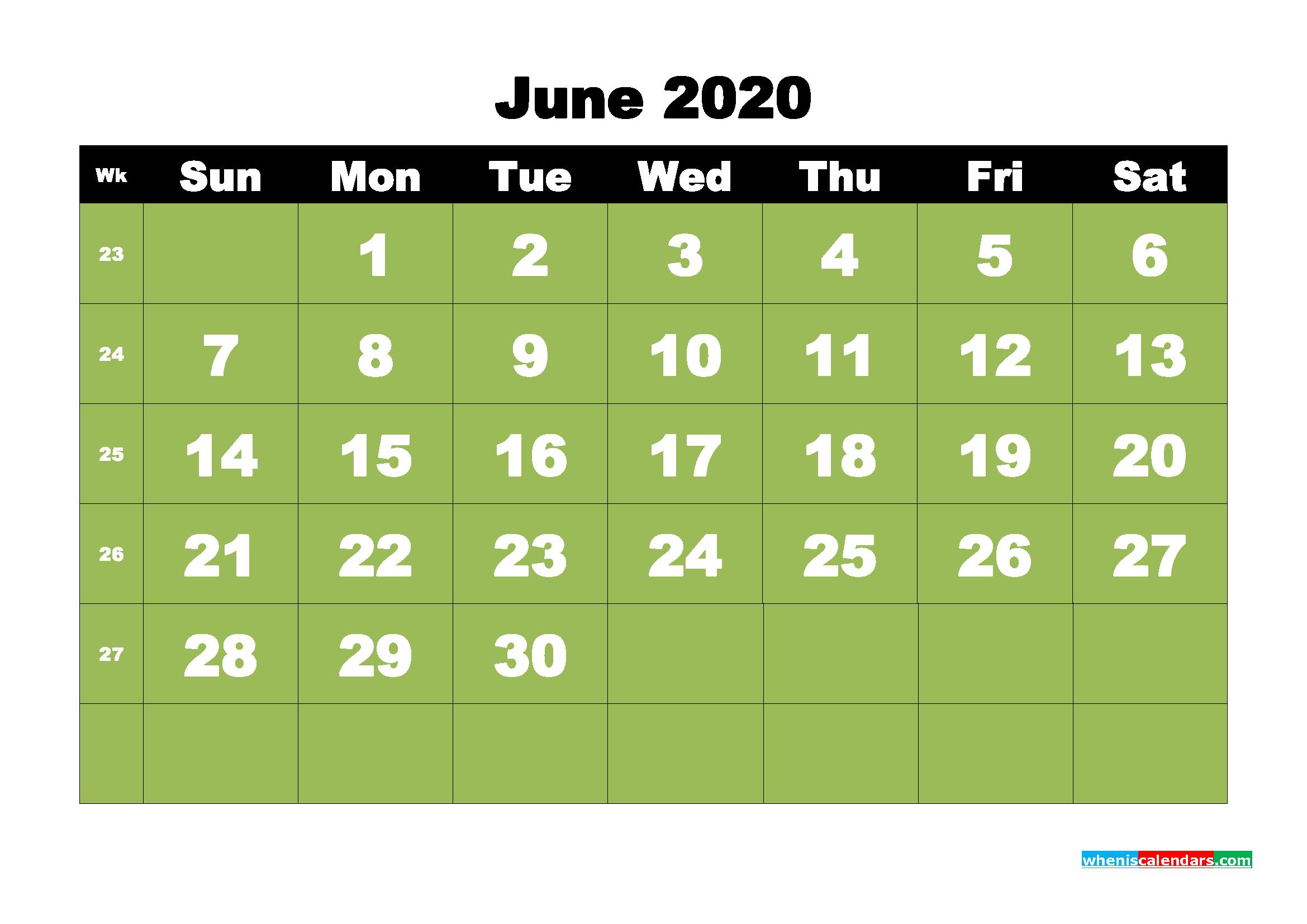 Free Printable June 2020 Calendar - No.m20b30