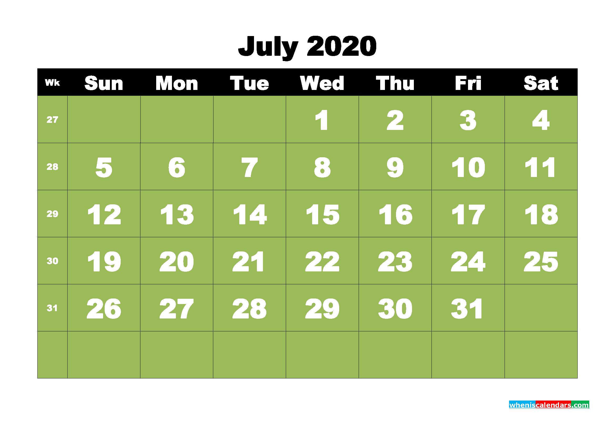 Free Printable July 2020 Calendar - No.m20b31