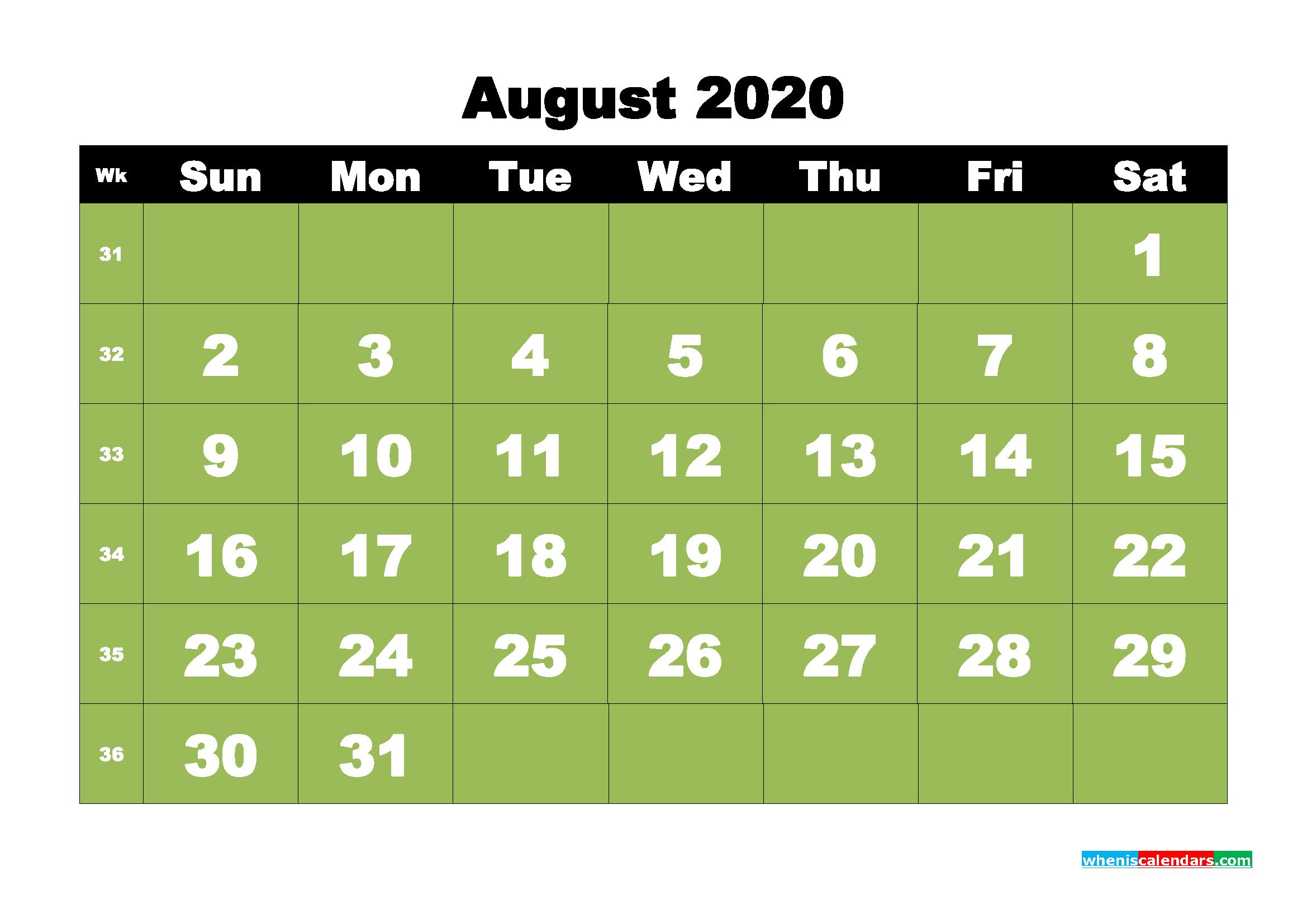 Free Printable August 2020 Calendar - No.m20b32