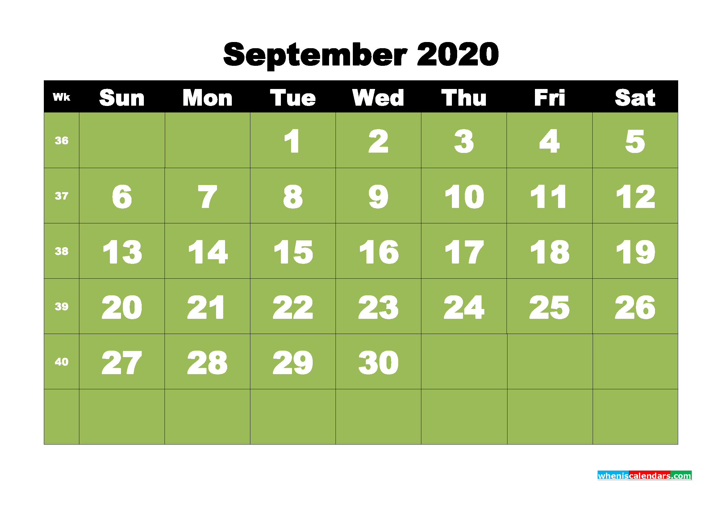 Free Printable September 2020 Calendar - No.m20b33