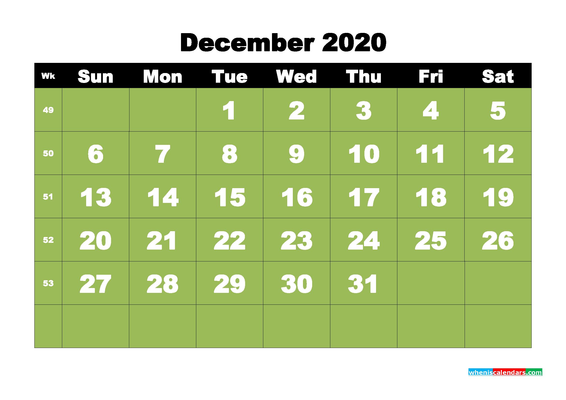 Free Printable December 2020 Calendar - No.m20b36