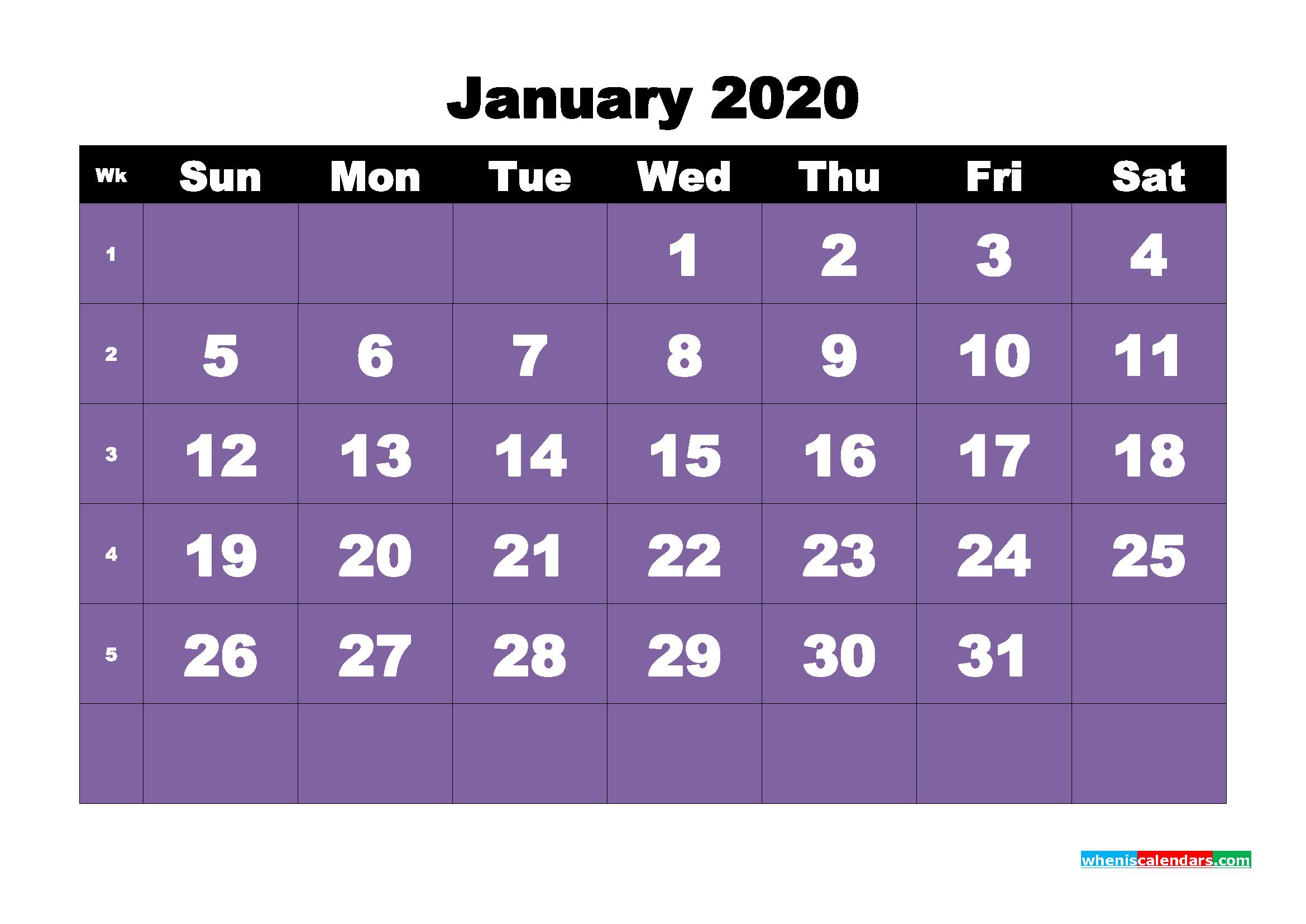 Free Blank Calendar January 2020 Printable - No.m20b37