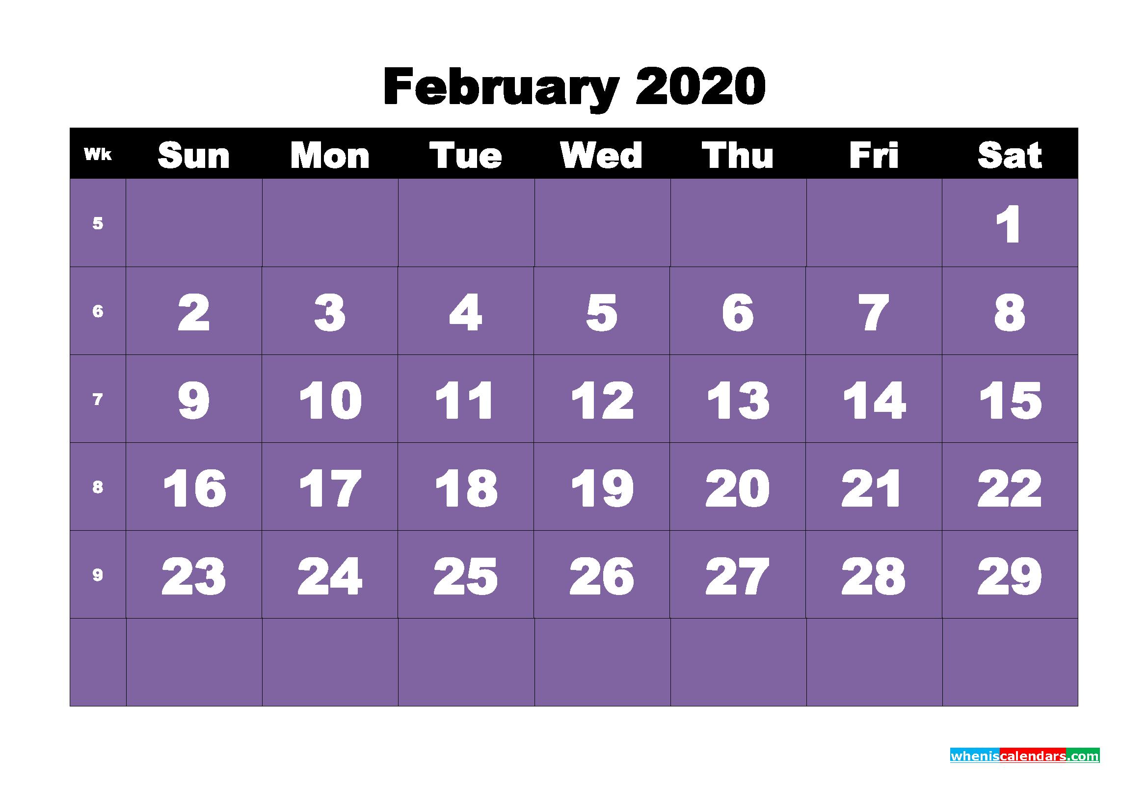 Free Blank Calendar February 2020 Printable - No.m20b38