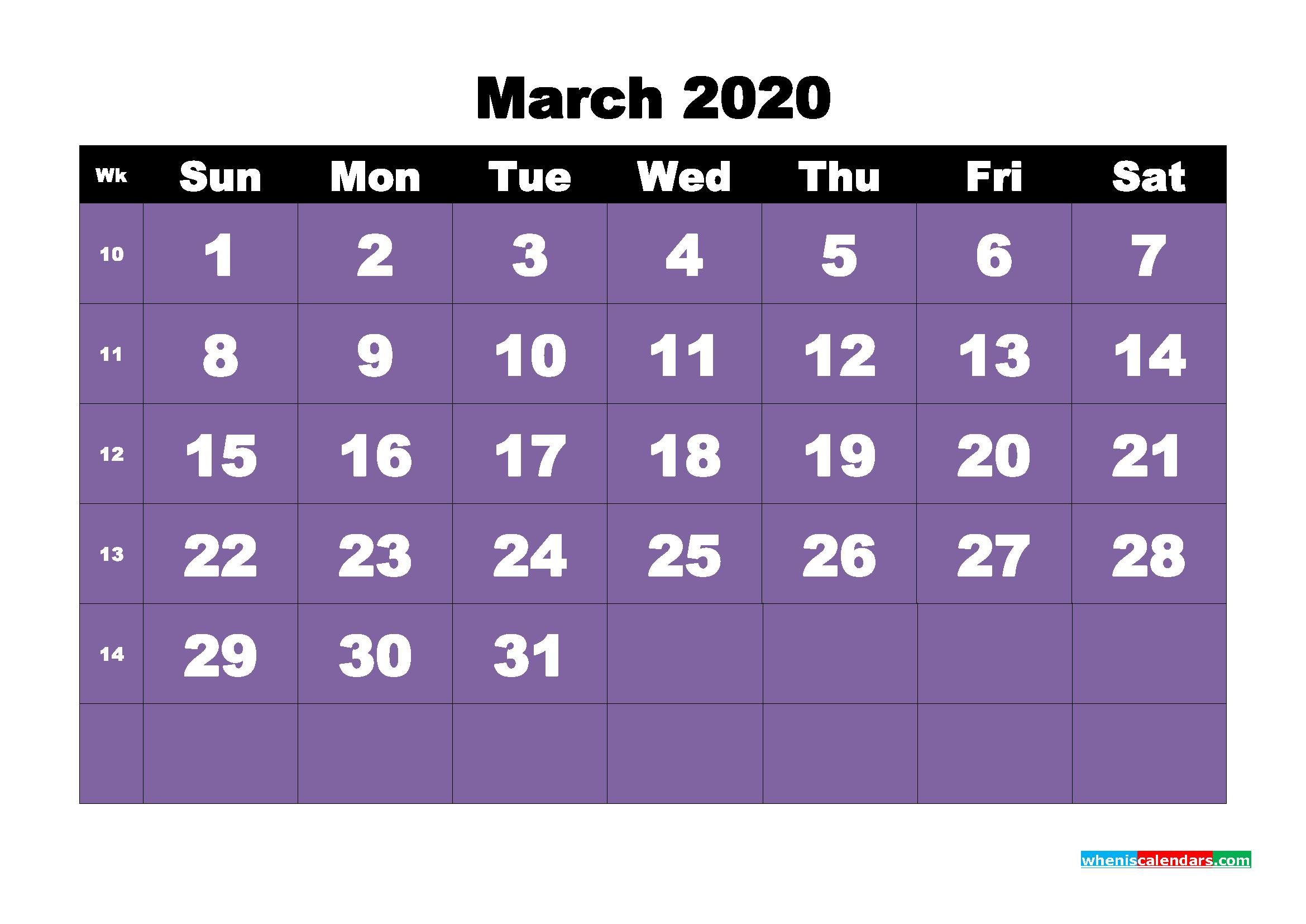 Free Blank Calendar March 2020 Printable - No.m20b39