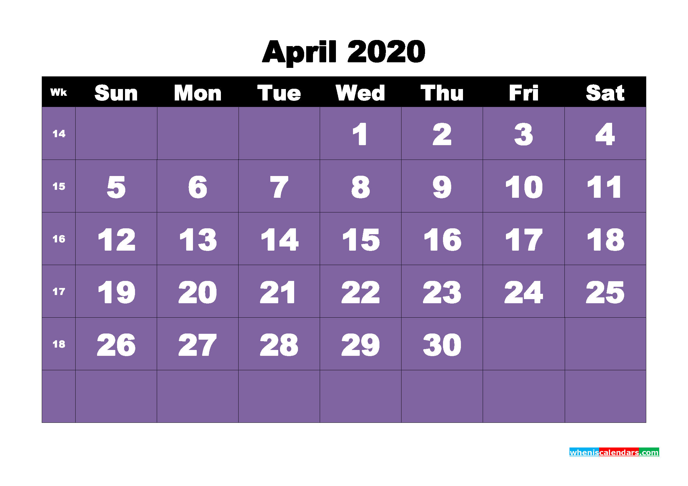 Blank Calendar for April 2020 Printable Word Format