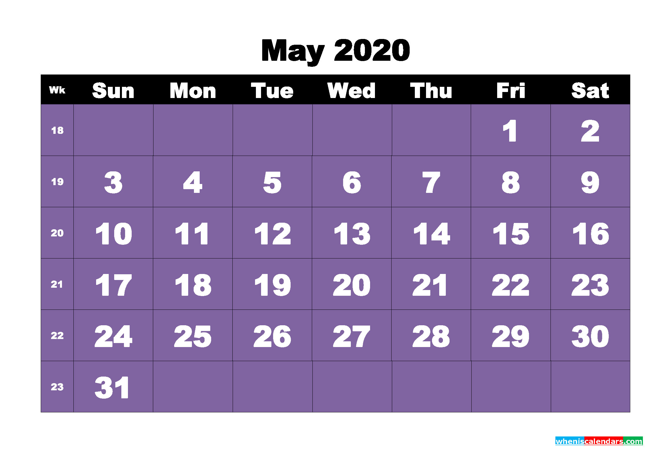 Free Blank Calendar May 2020 Printable - No.m20b41