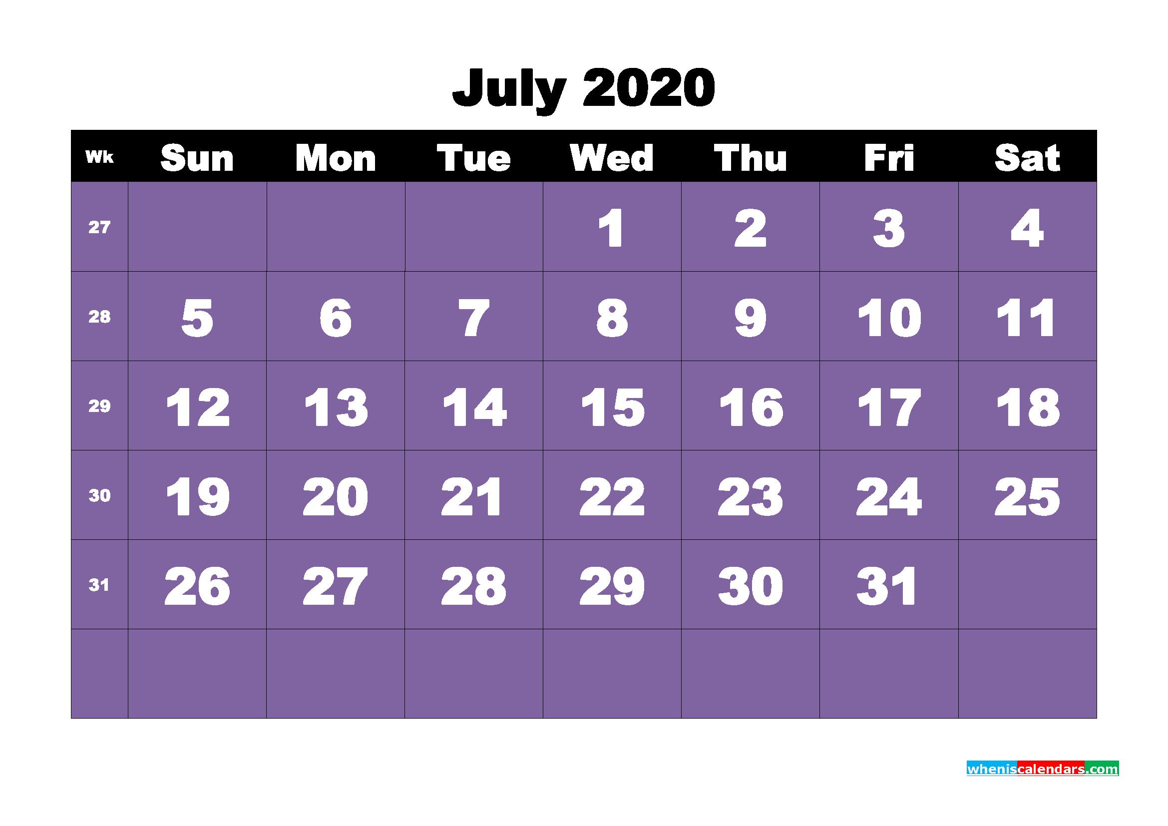 Free Blank Calendar July 2020 Printable - No.m20b43