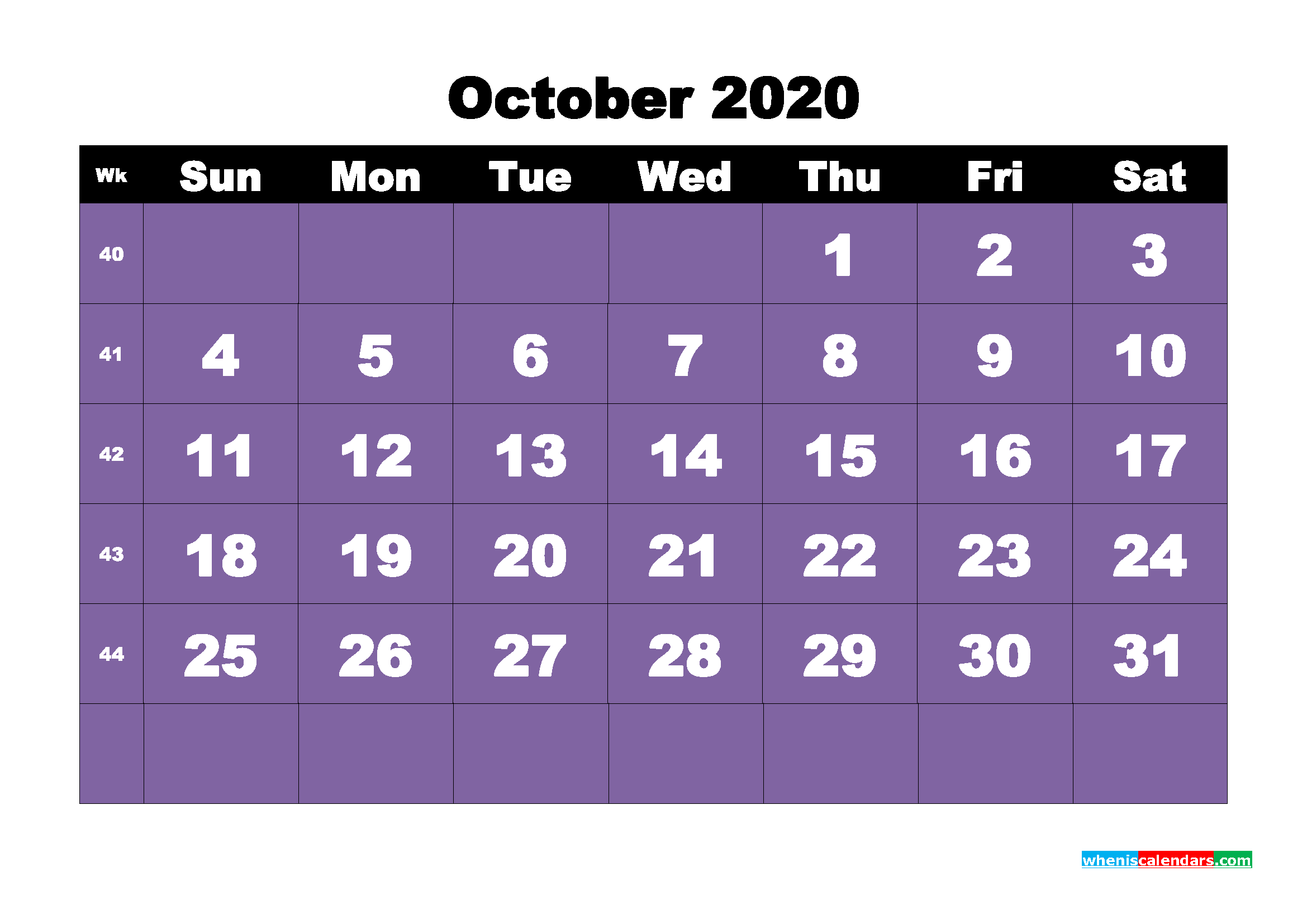 Free Blank Calendar October 2020 Printable - No.m20b46