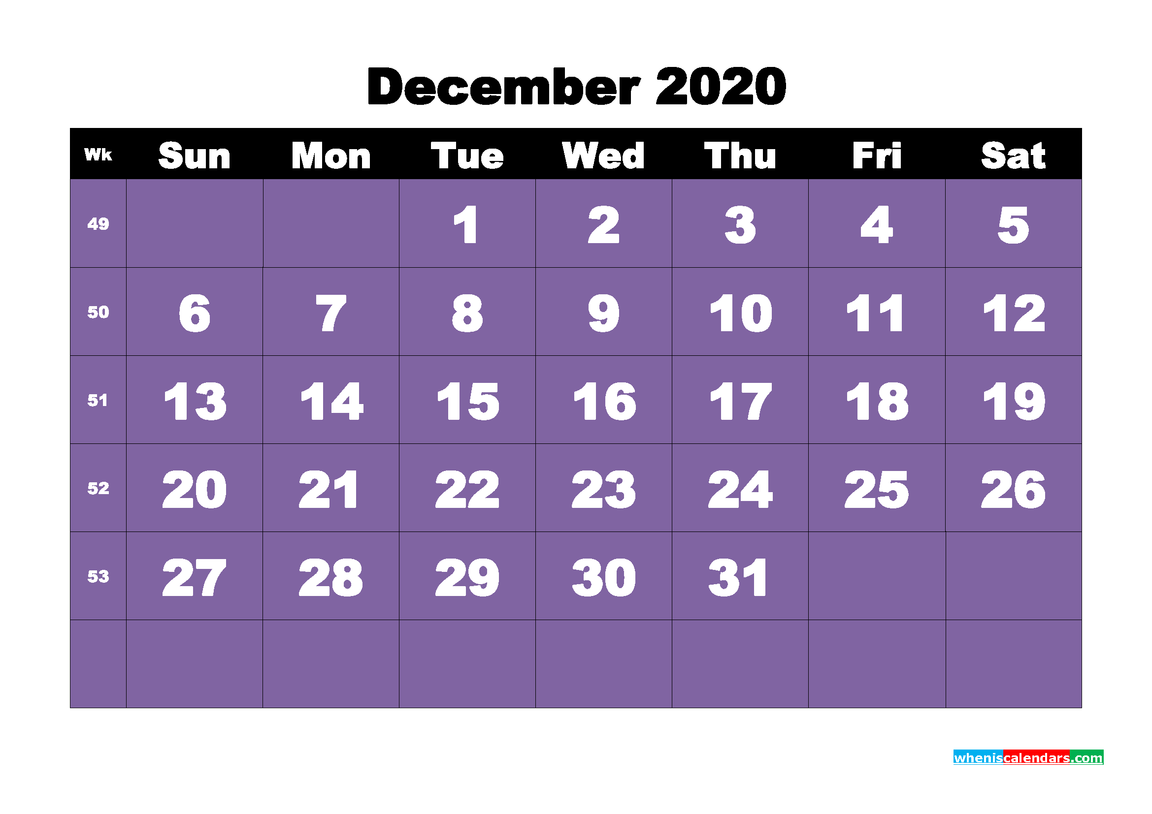Free Blank Calendar December 2020 Printable - No.m20b48