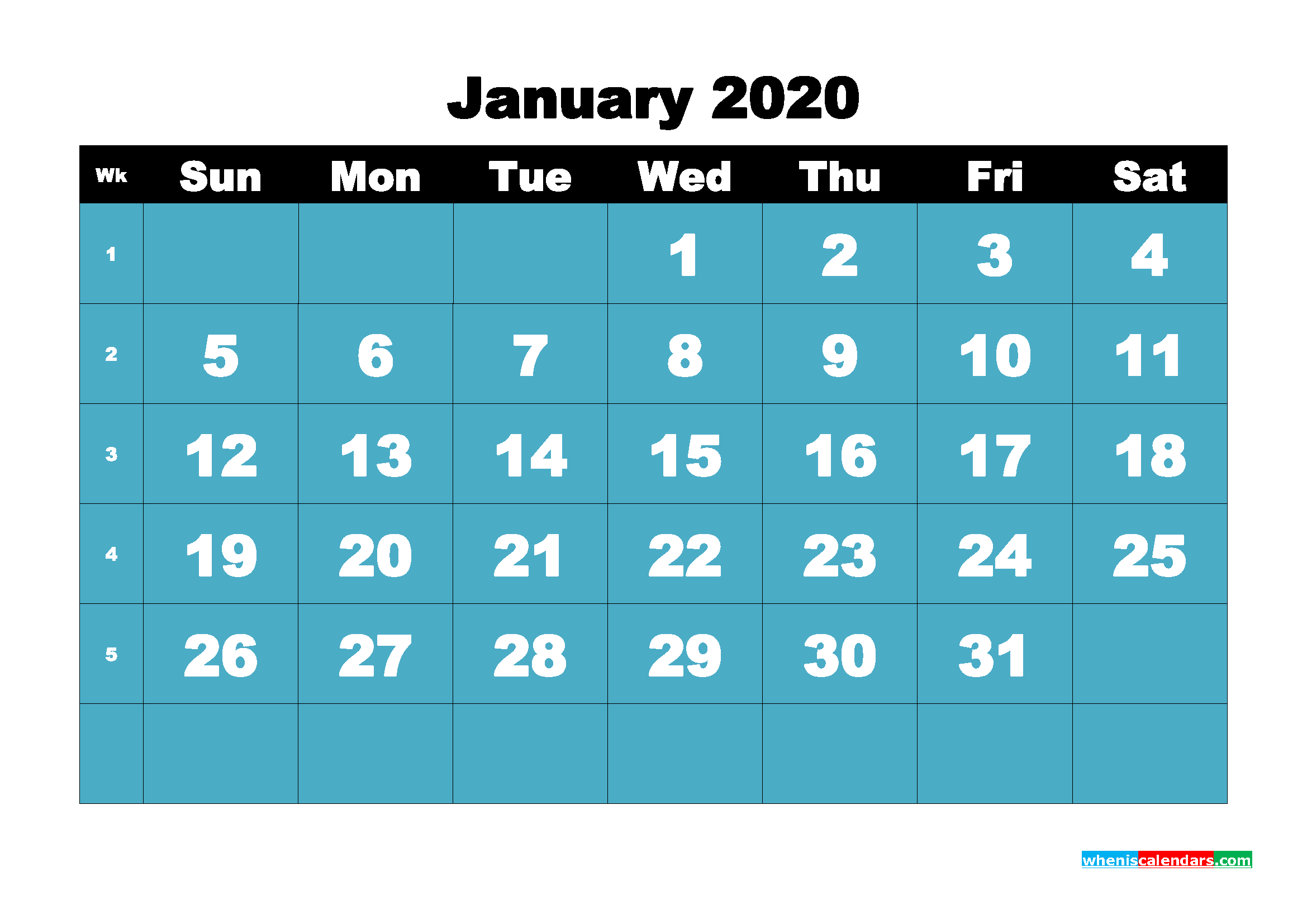 Blank January 2020 Calendar Printable - No.m20b49