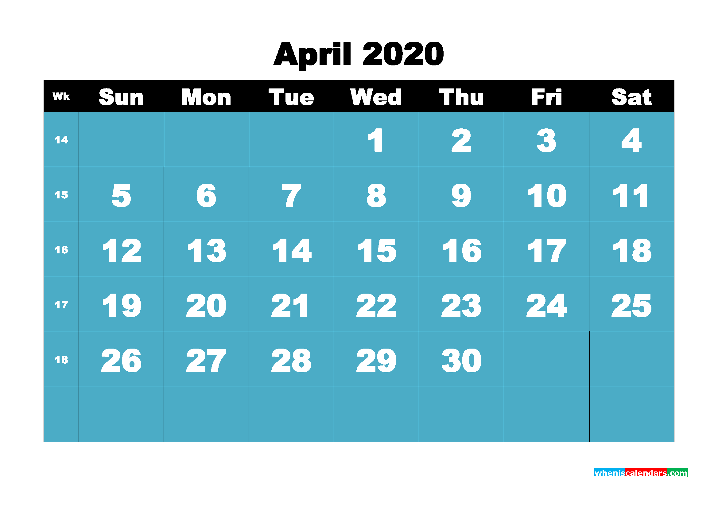Monthly Printable Calendar 2020 April with Week Numbers