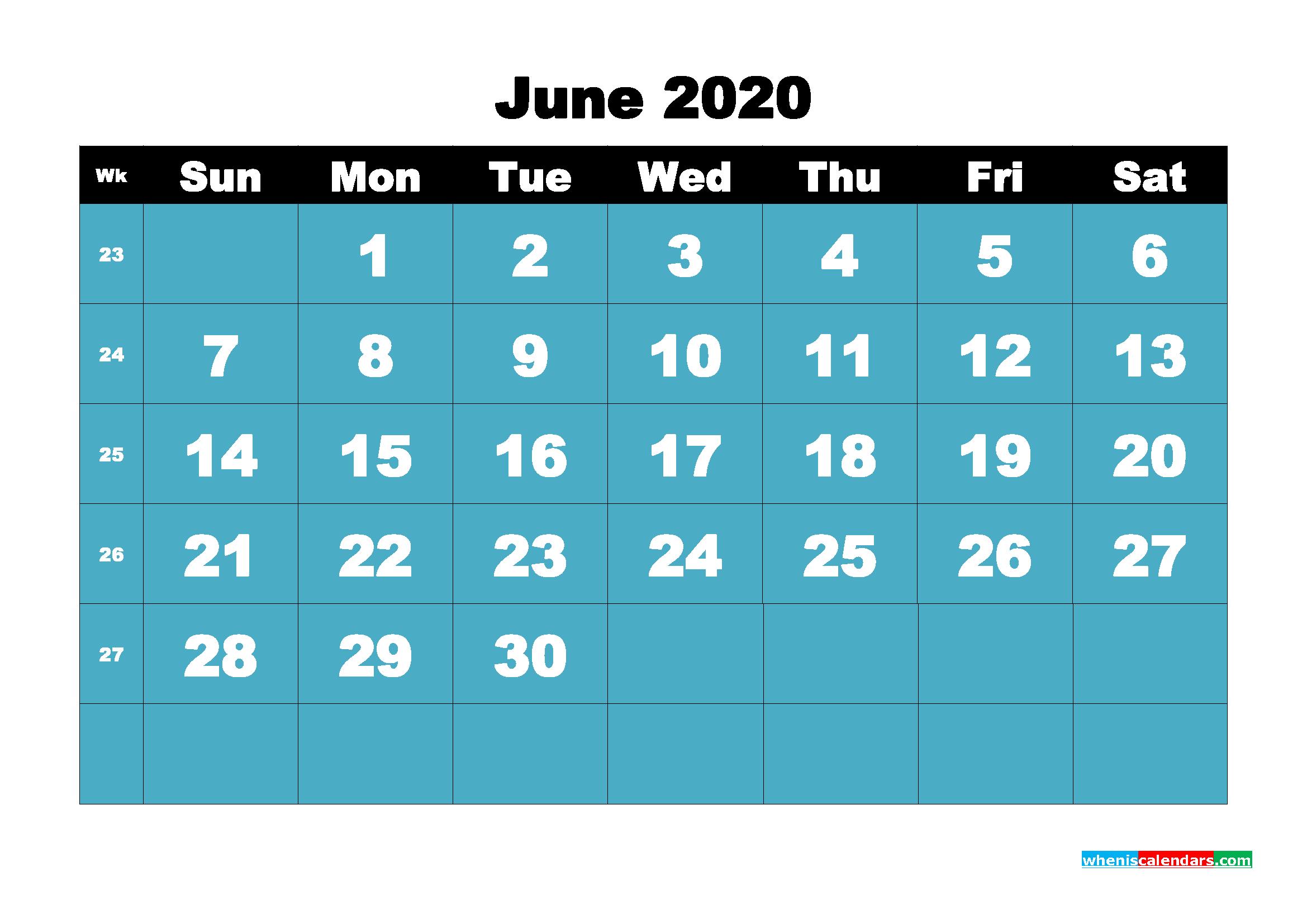 Blank June 2020 Calendar Printable - No.m20b54