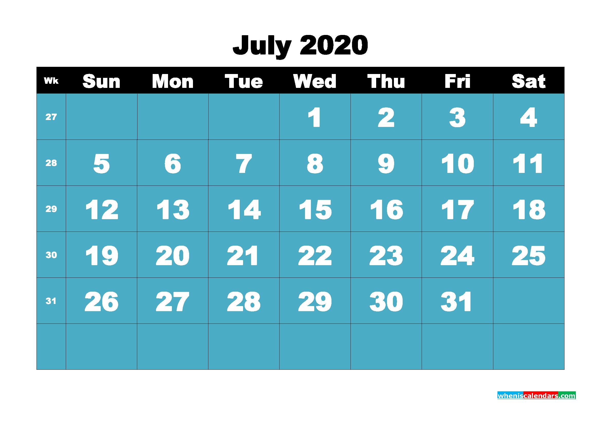 Blank July 2020 Calendar Printable - No.m20b55
