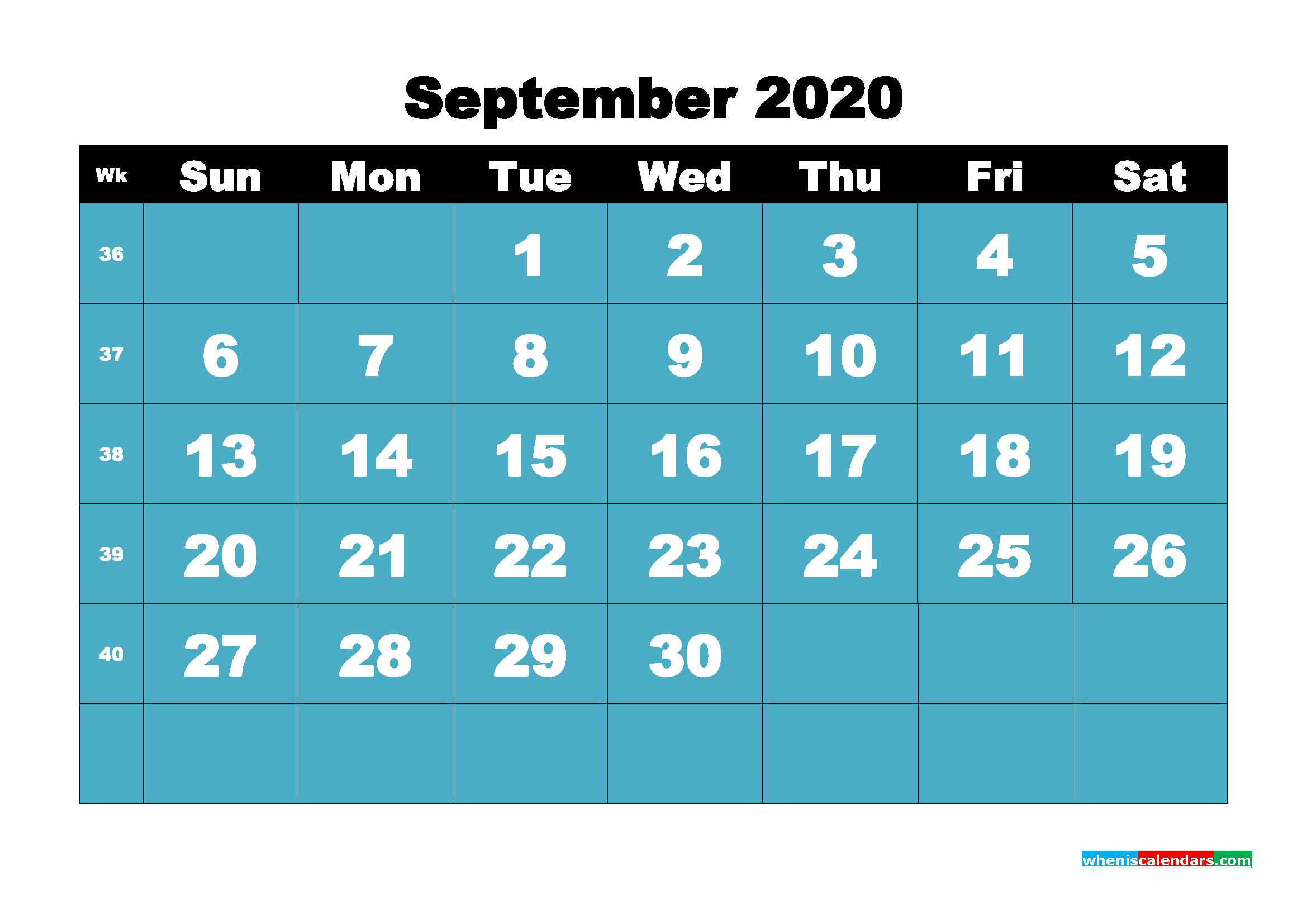 Blank September 2020 Calendar Printable - No.m20b57