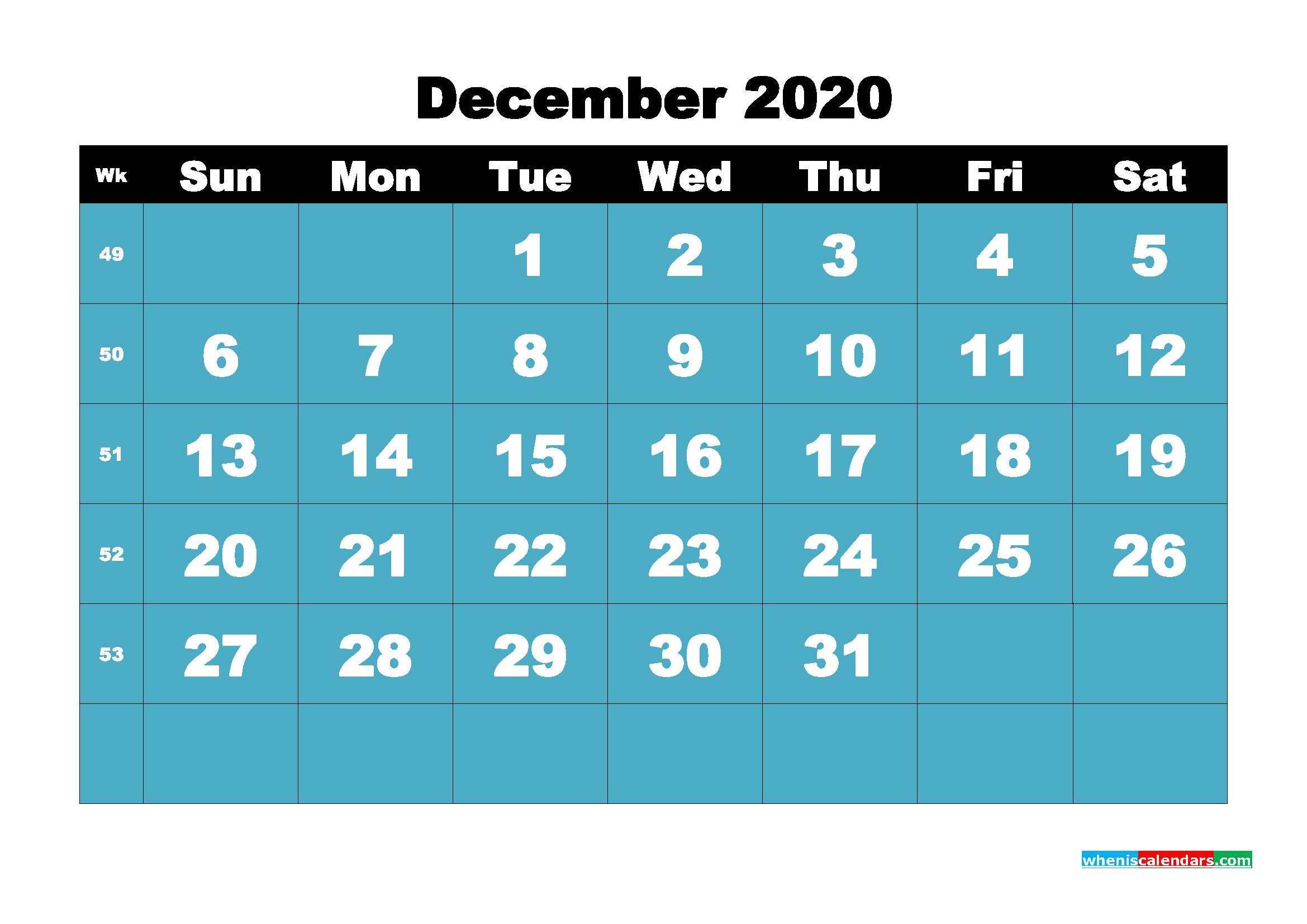 Blank December 2020 Calendar Printable - No.m20b60