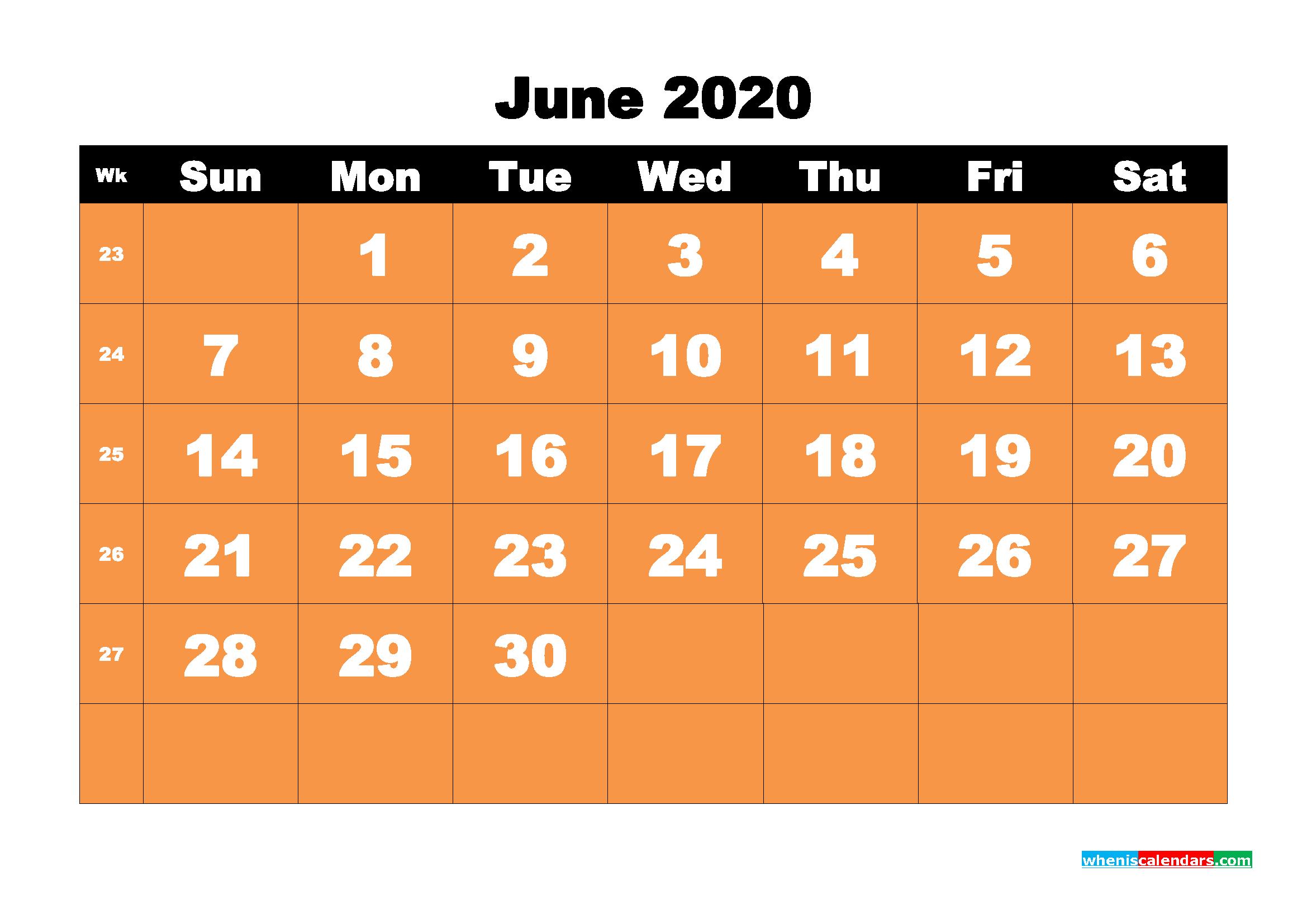 June 2020 Blank Calendar Printable - No.m20b66