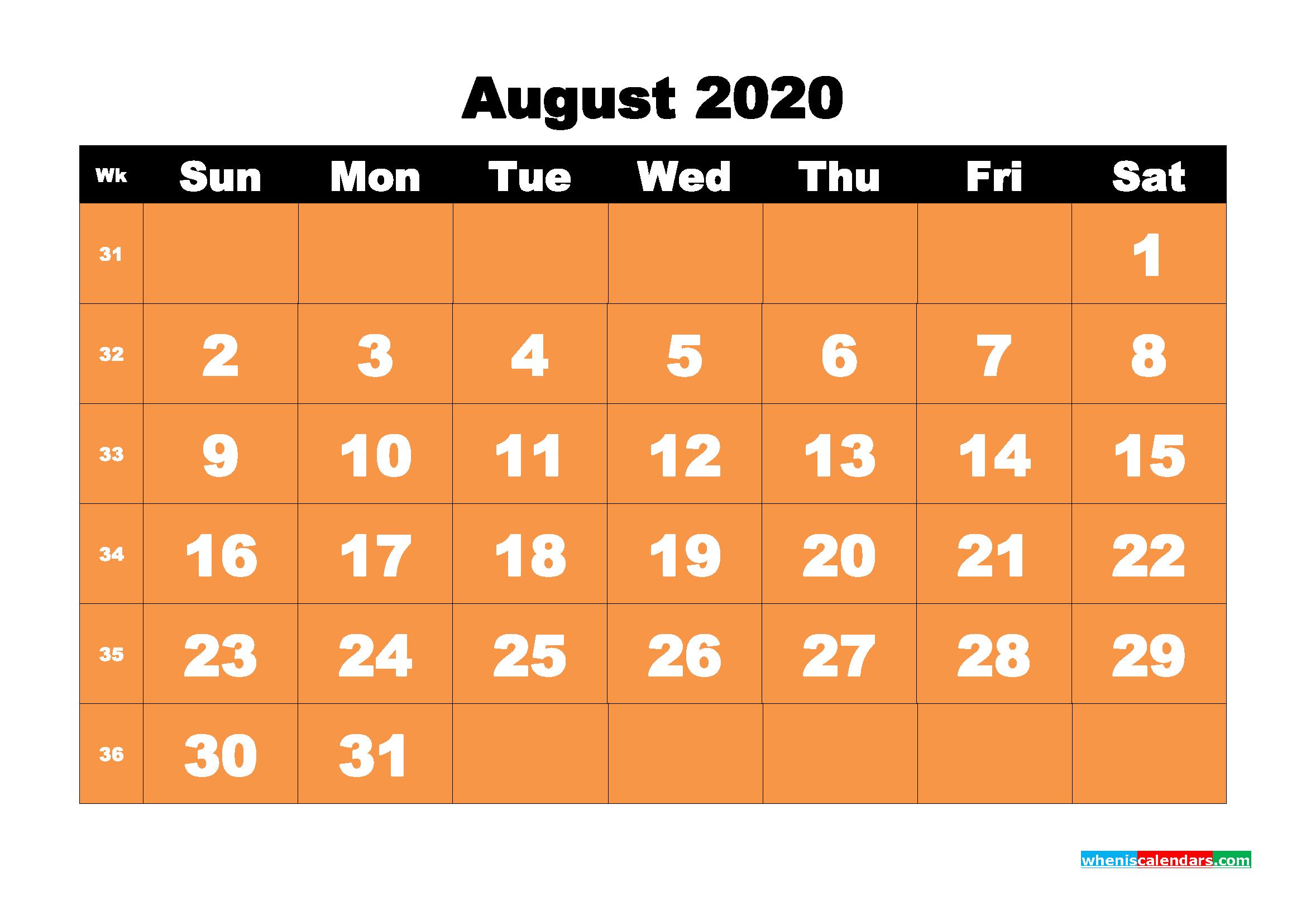 August 2020 Blank Calendar Printable - No.m20b68