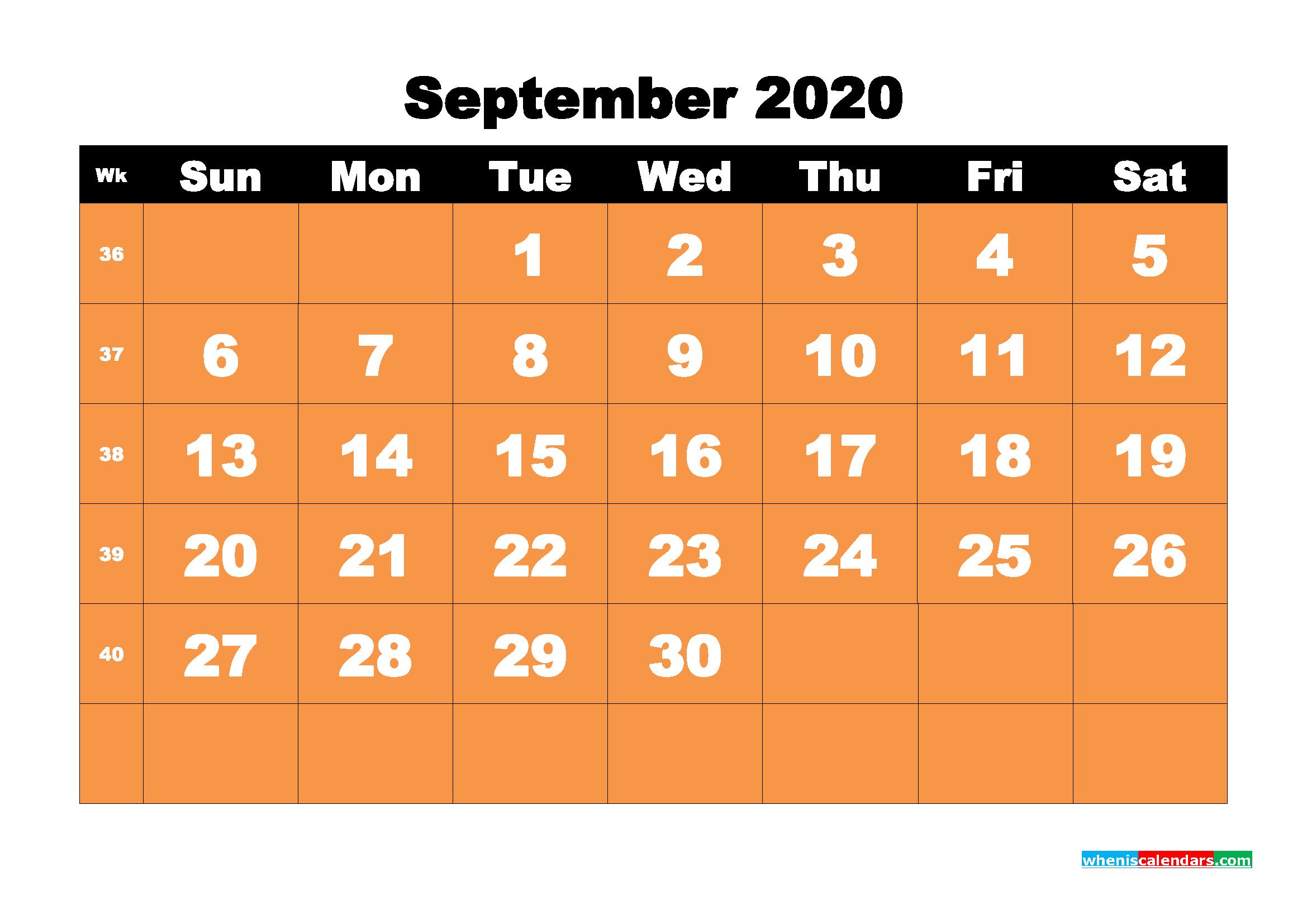 September 2020 Blank Calendar Printable - No.m20b69