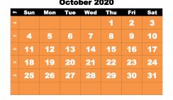 Printable 2020 Monthly Calendar with Week Numbers October