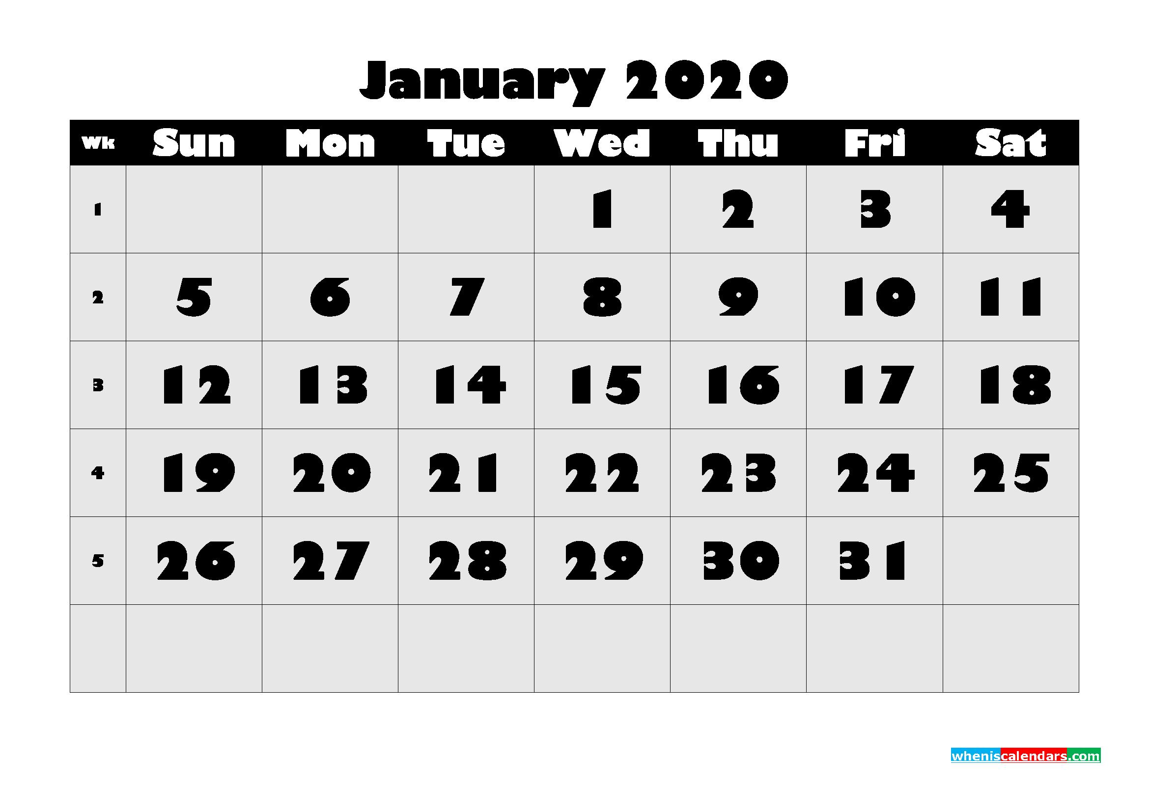 Free Printable January 2020 Calendar - No.m20b601