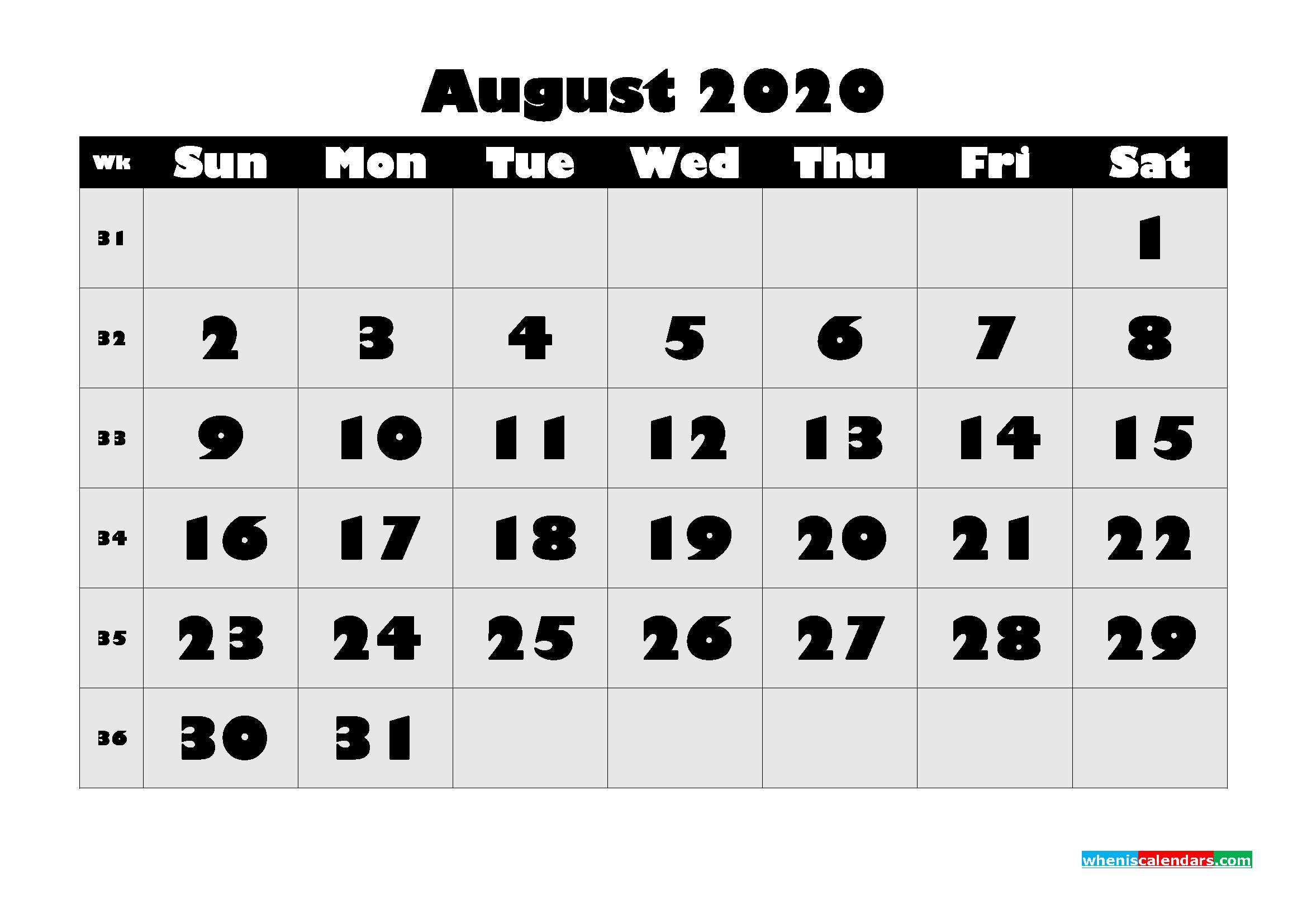 Free Printable August 2020 Calendar - No.m20b608