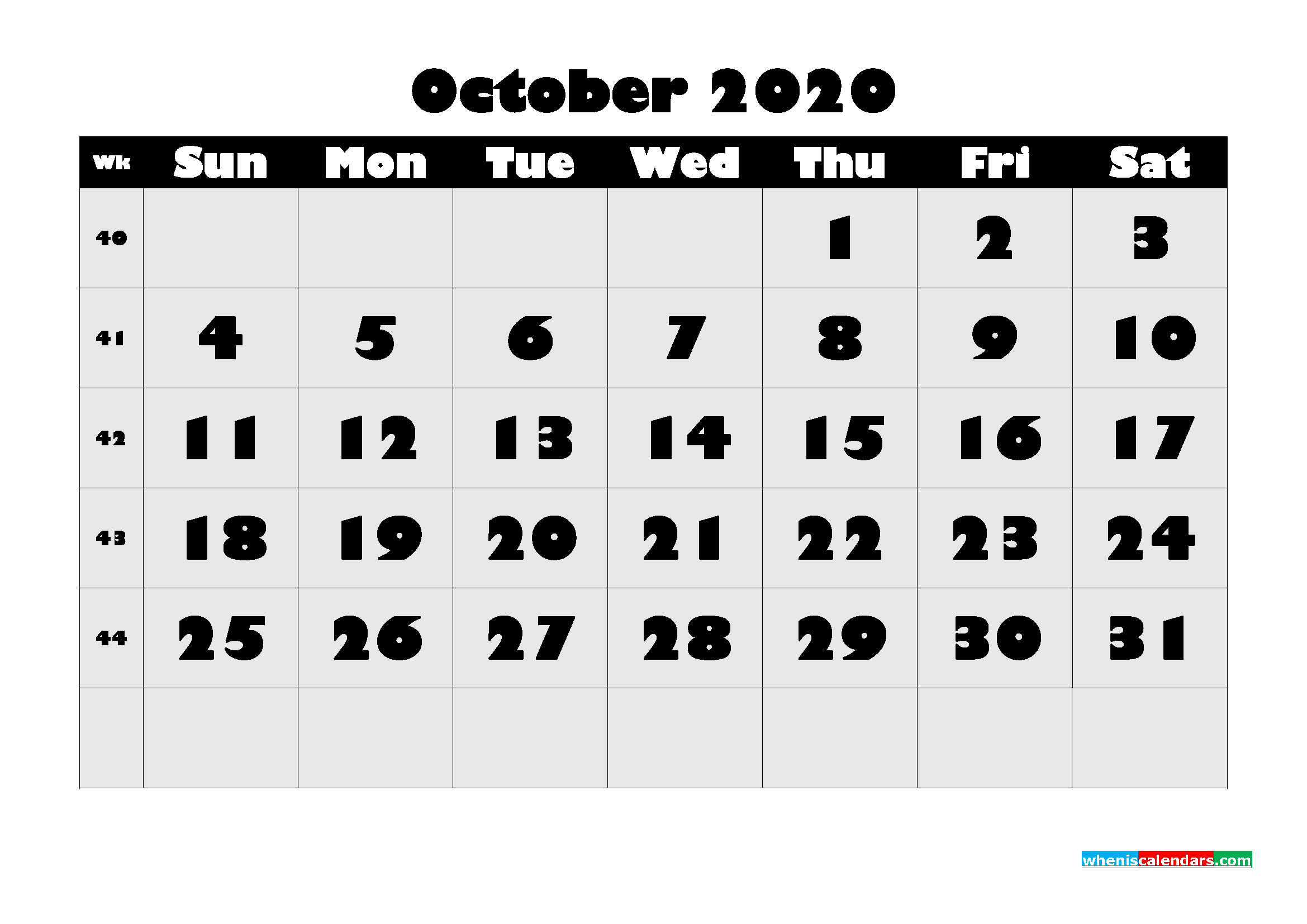 Free Printable October 2020 Calendar - No.m20b610