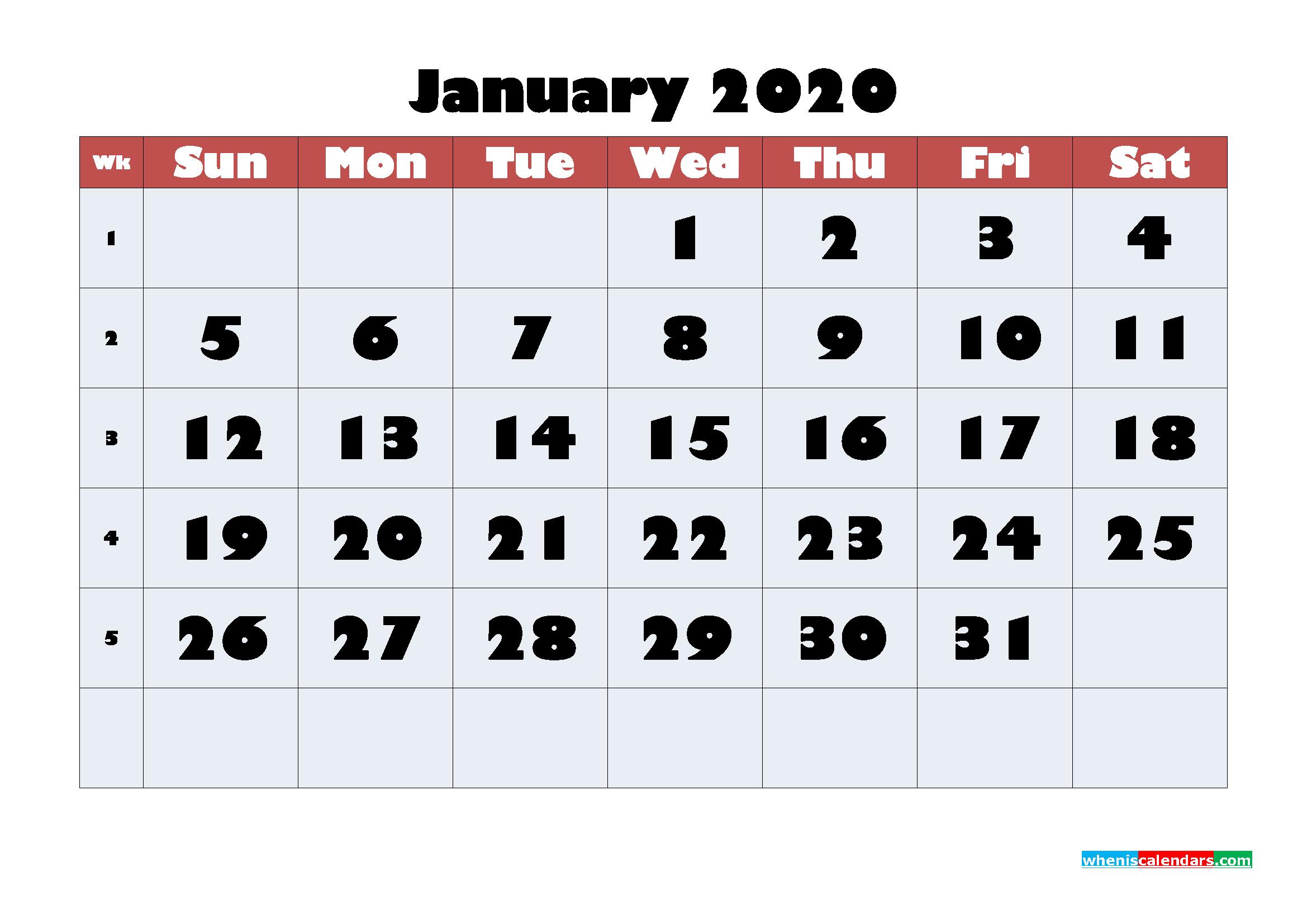 Free Blank Calendar January 2020 Printable - No.m20b613