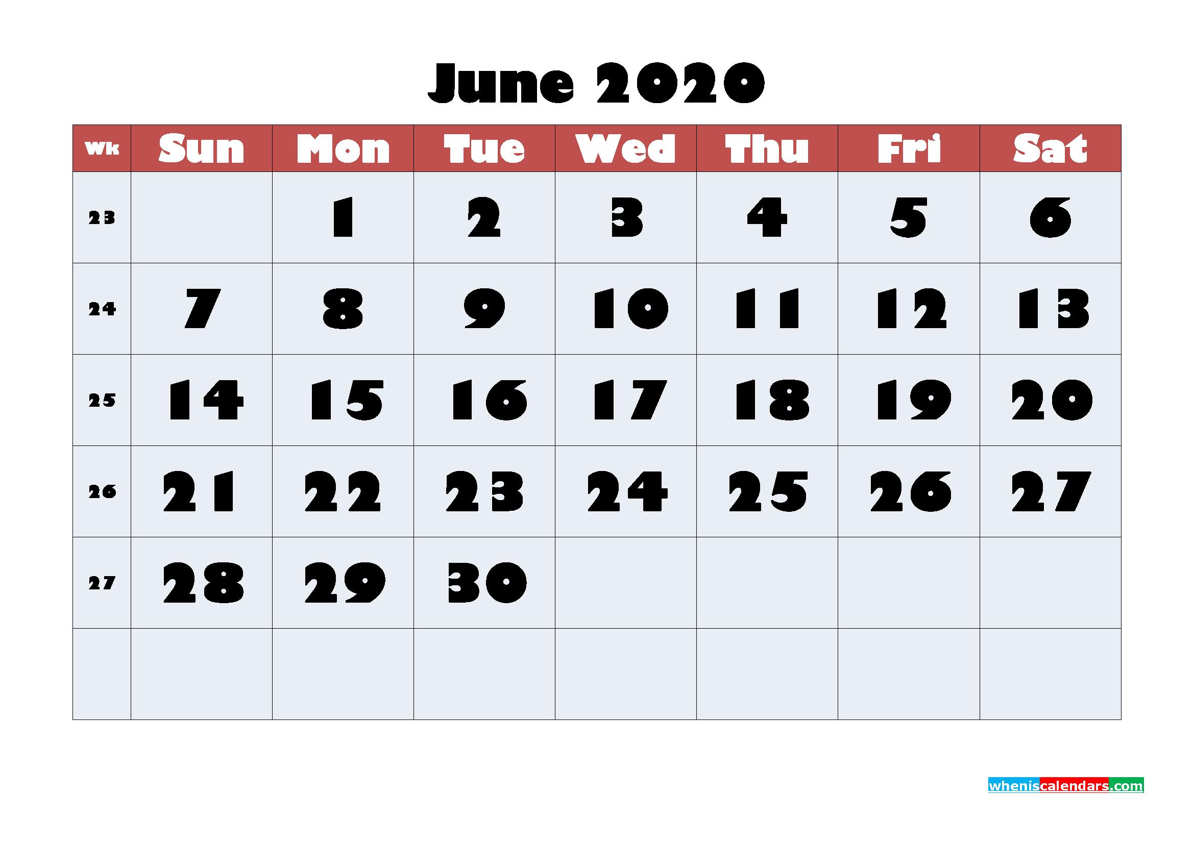Free Blank Calendar June 2020 Printable - No.m20b618