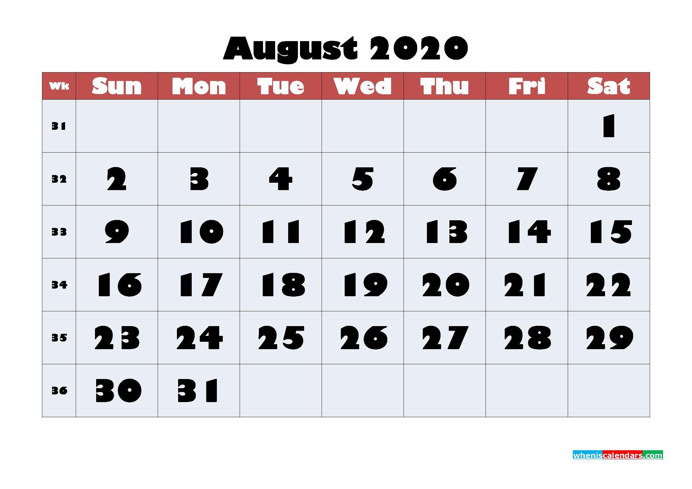 Free Blank Calendar August 2020 Printable - No.m20b620