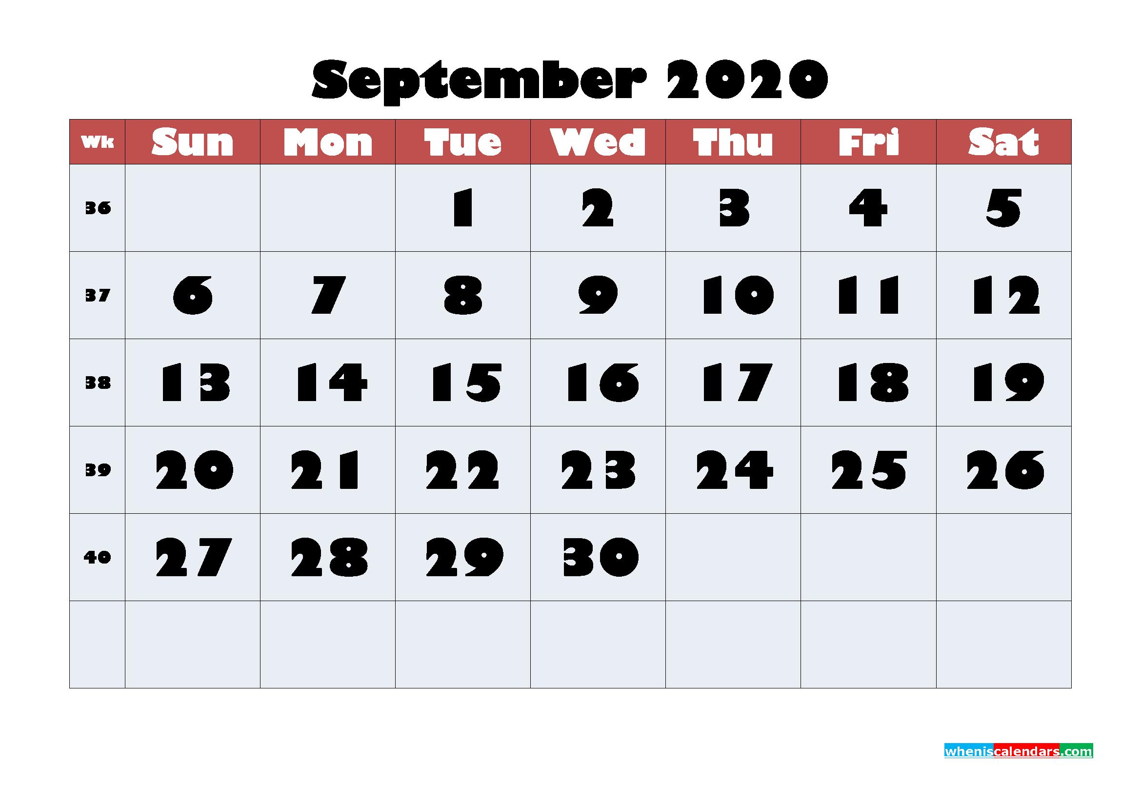 Free Blank Calendar September 2020 Printable - No.m20b621