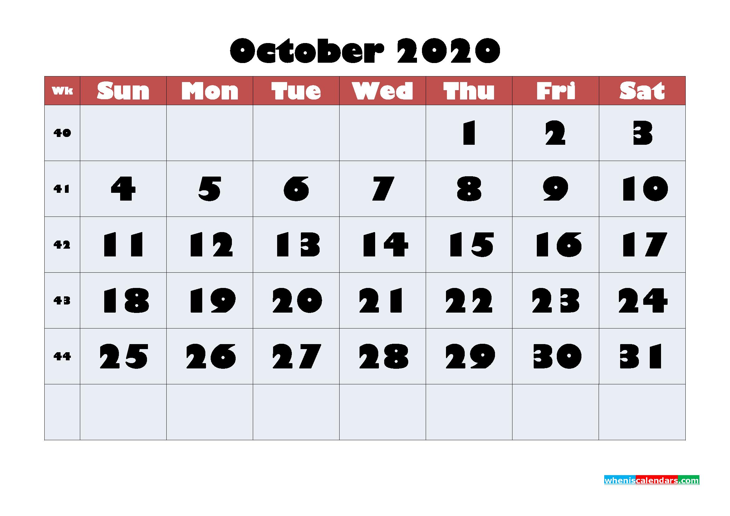 Free Blank Calendar October 2020 Printable - No.m20b622