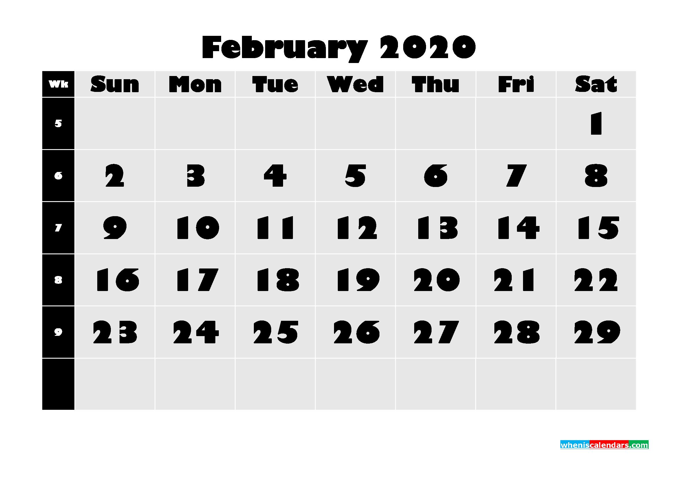 Blank February 2020 Calendar Printable - No.m20b626