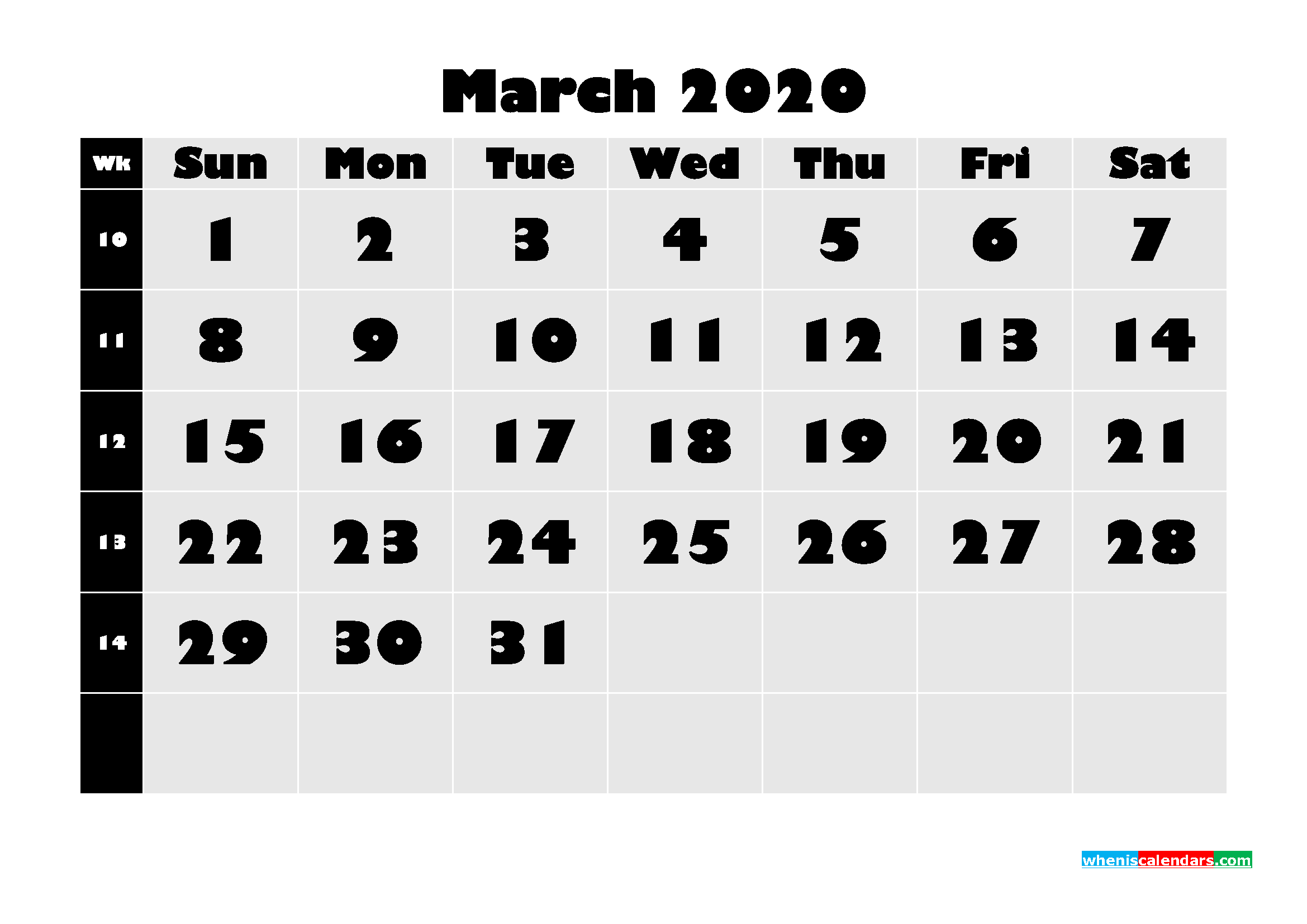 Monthly Printable Calendar 2020 March with Week Numbers