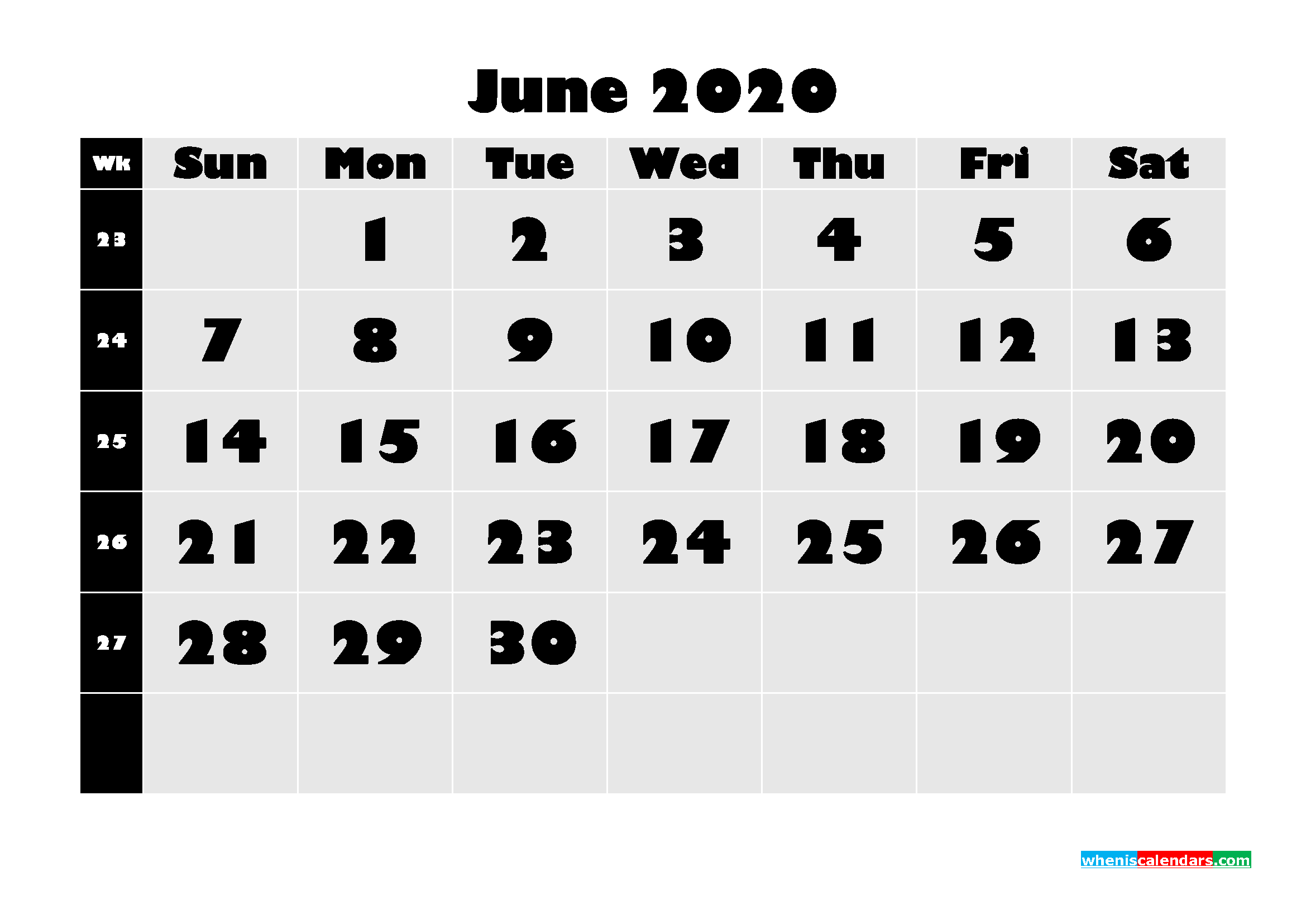Blank June 2020 Calendar Printable - No.m20b630
