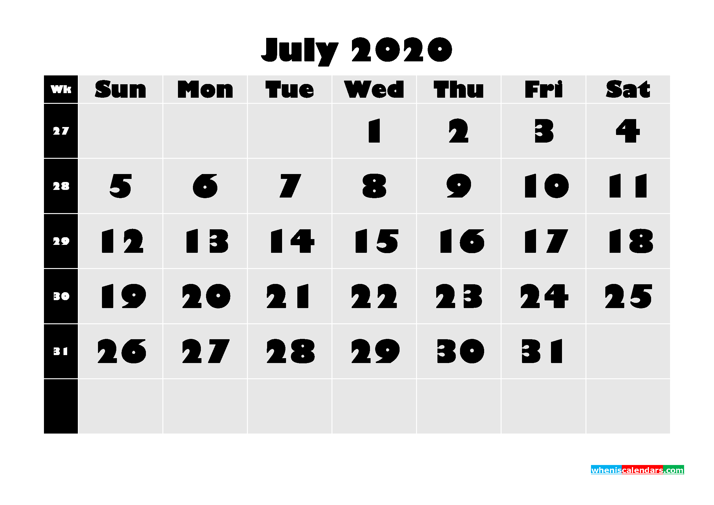 Blank July 2020 Calendar Printable - No.m20b631