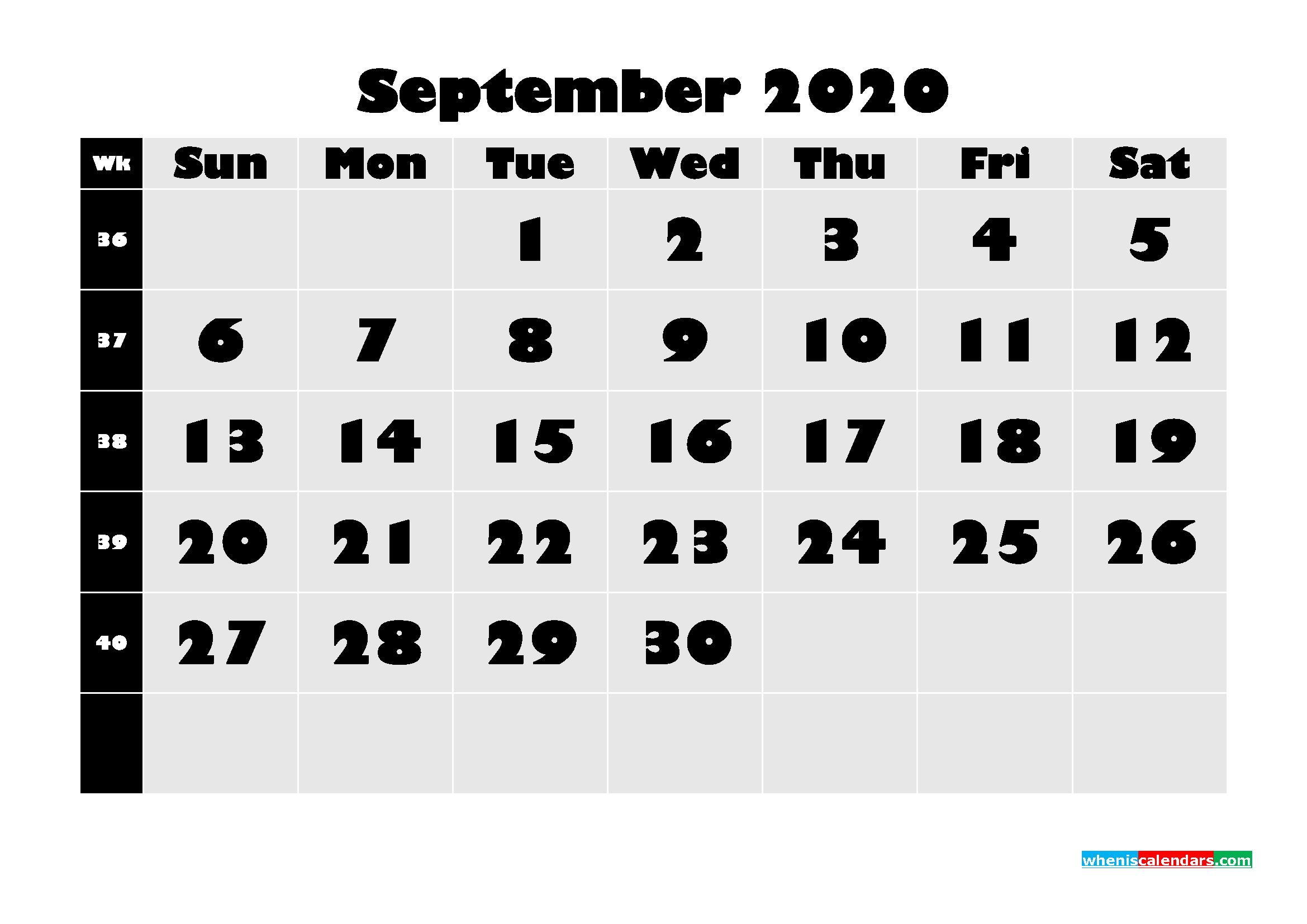 Blank September 2020 Calendar Printable - No.m20b633