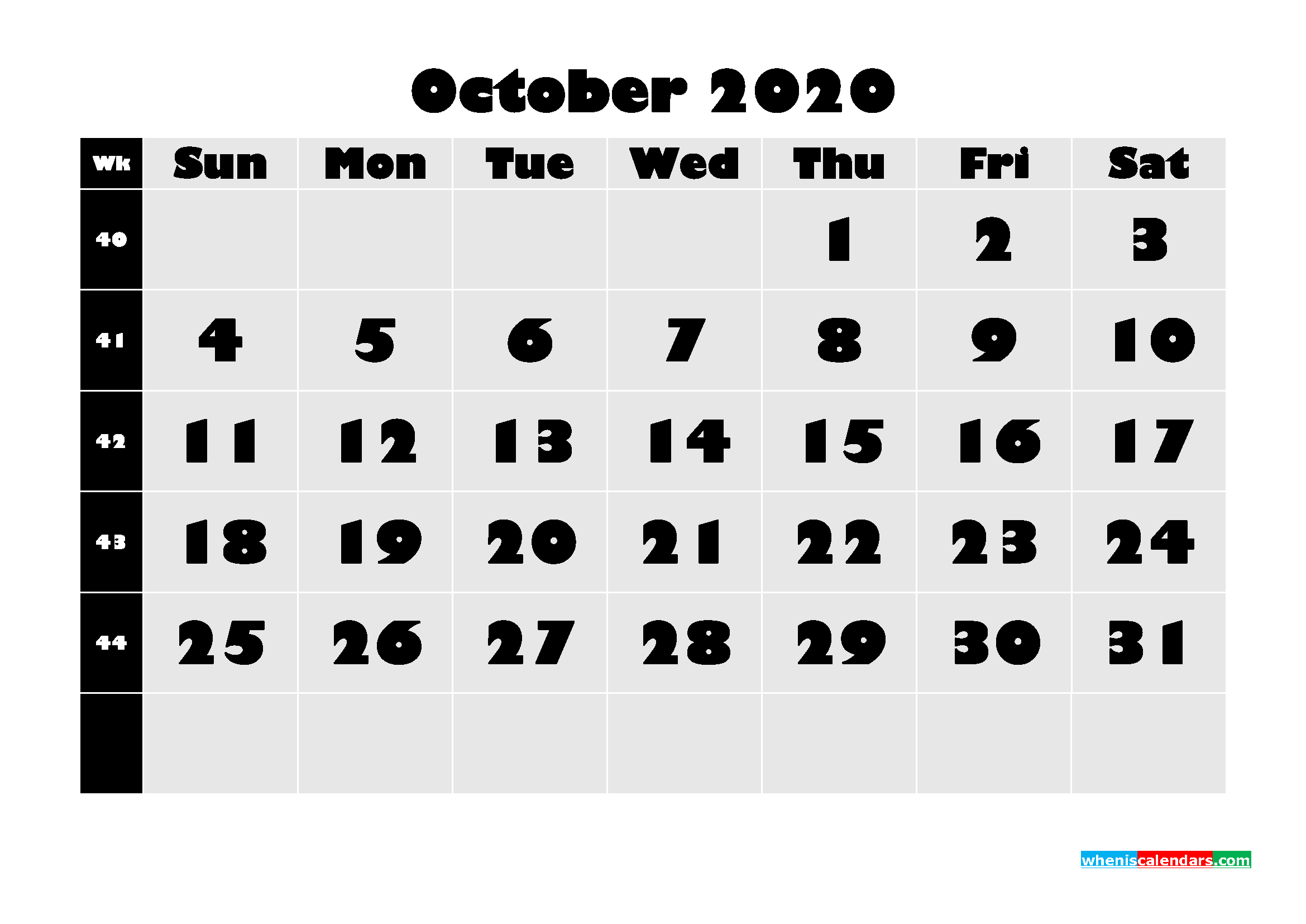 Monthly Printable Calendar 2020 October with Week Numbers