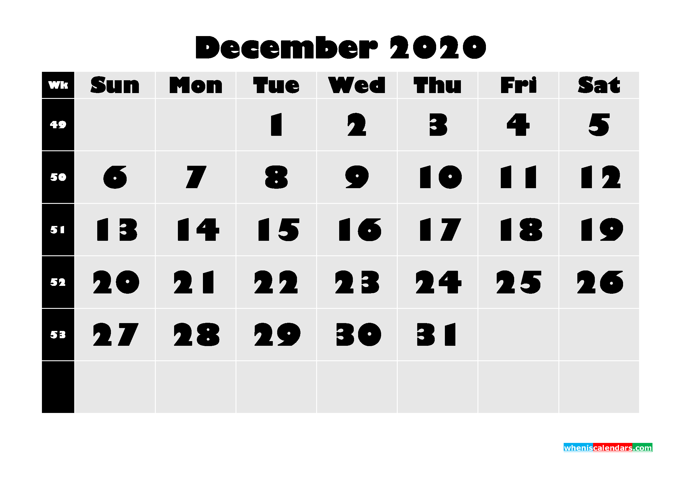 Blank December 2020 Calendar Printable - No.m20b636
