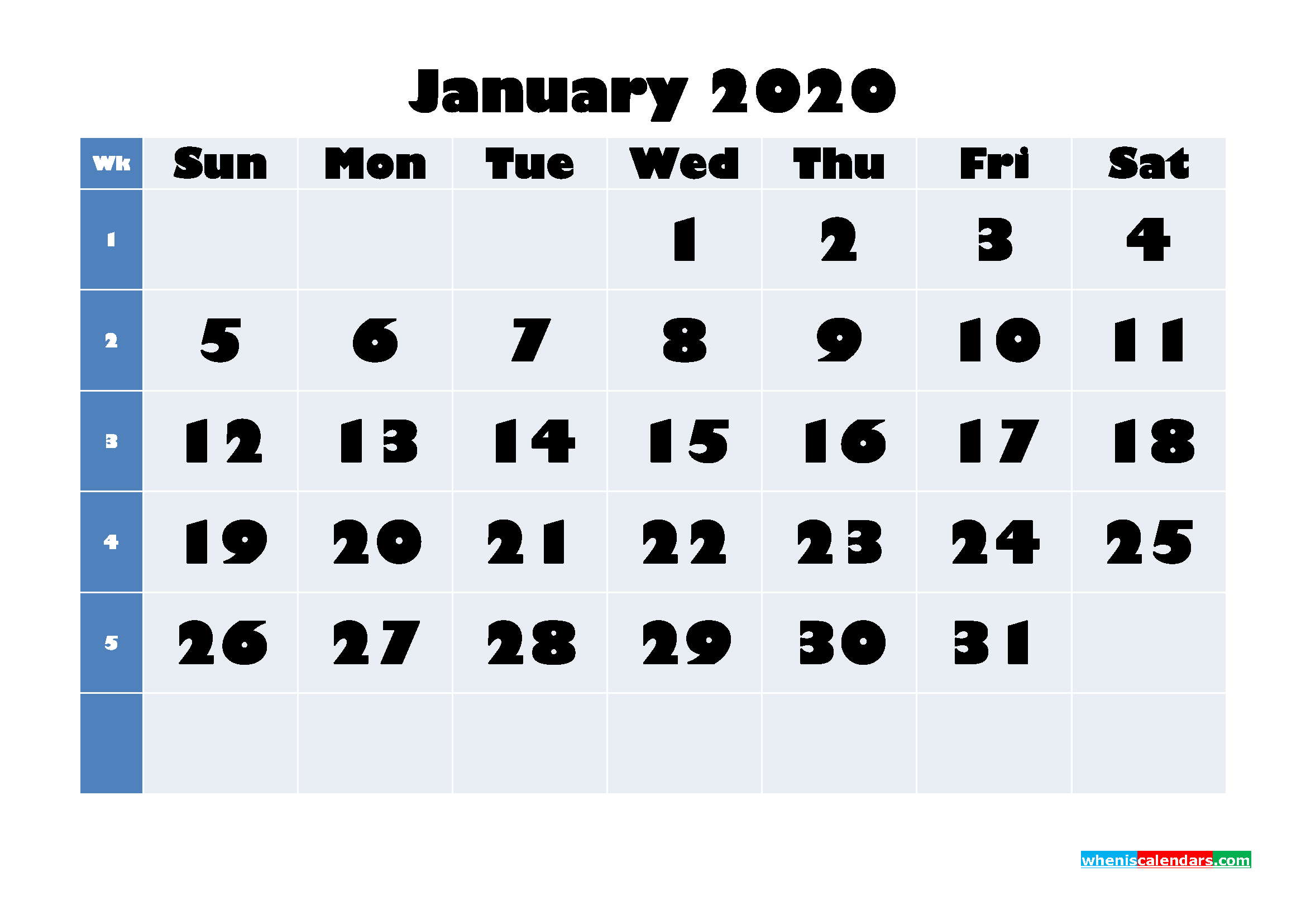 January 2020 Blank Calendar Printable - No.m20b637