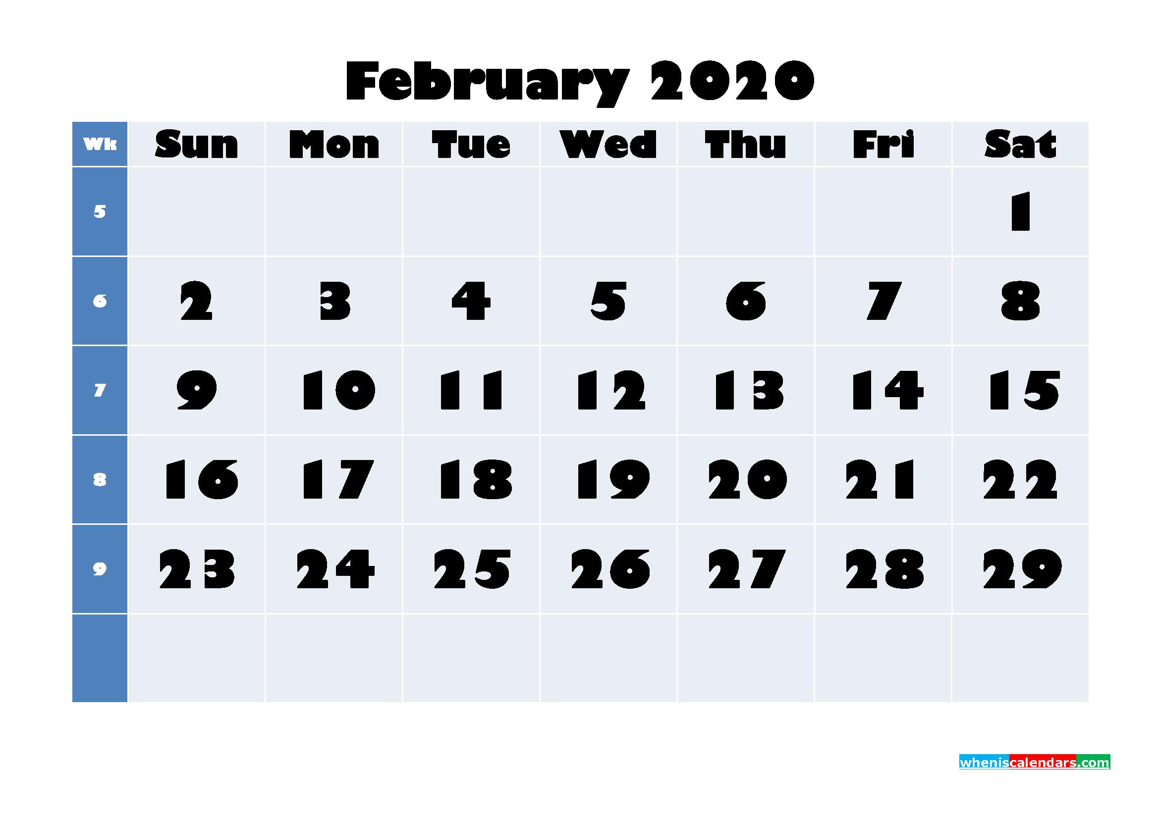 February 2020 Blank Calendar Printable - No.m20b638