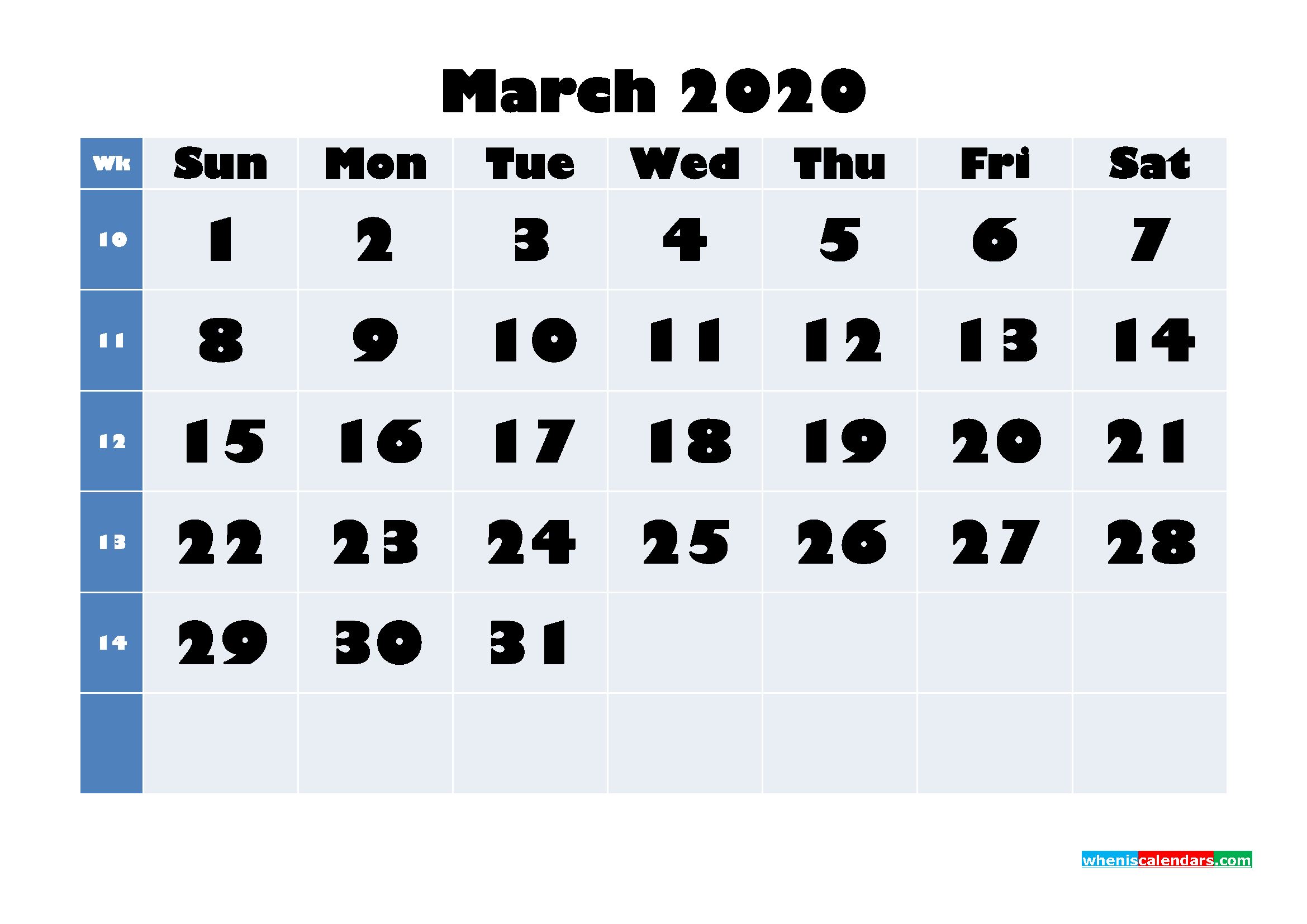 March 2020 Blank Calendar Printable - No.m20b639