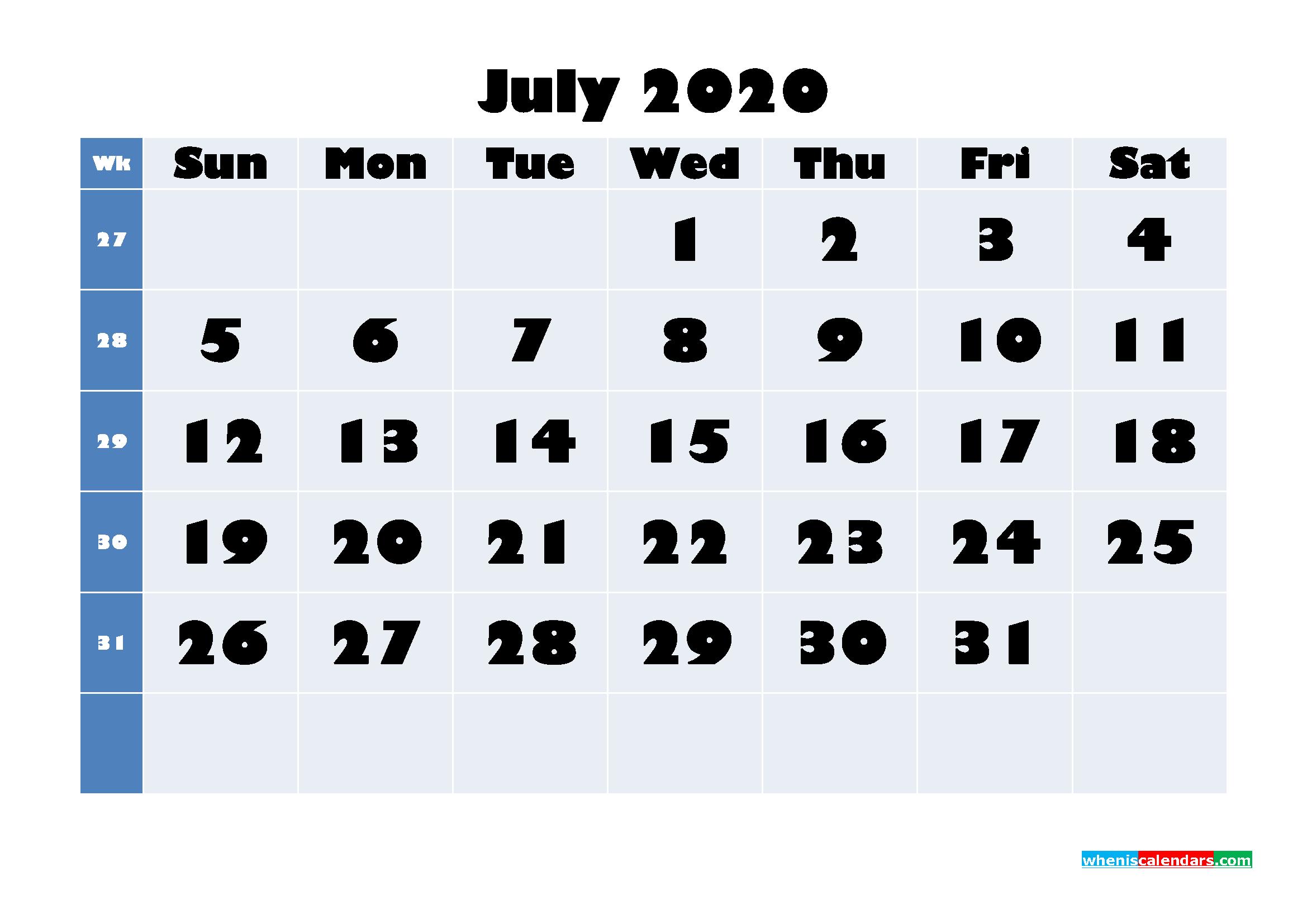 July 2020 Blank Calendar Printable - No.m20b643