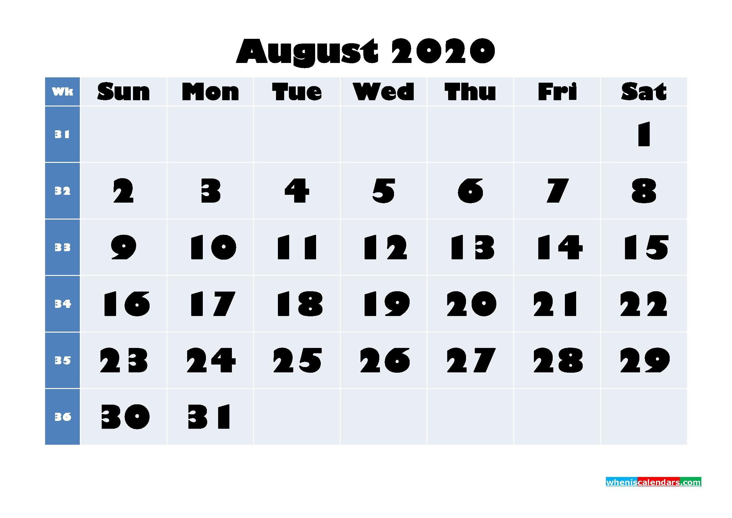 August 2020 Blank Calendar Printable - No.m20b644